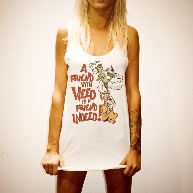 FRIENDS WITH WEED WOMENS WHITE SINGLET
