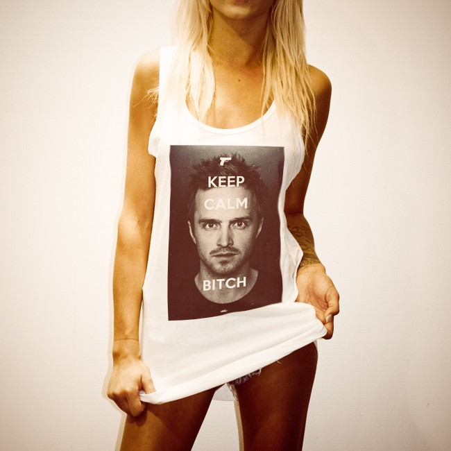 PINKMAN BITCH WOMENS WHITE SINGLET