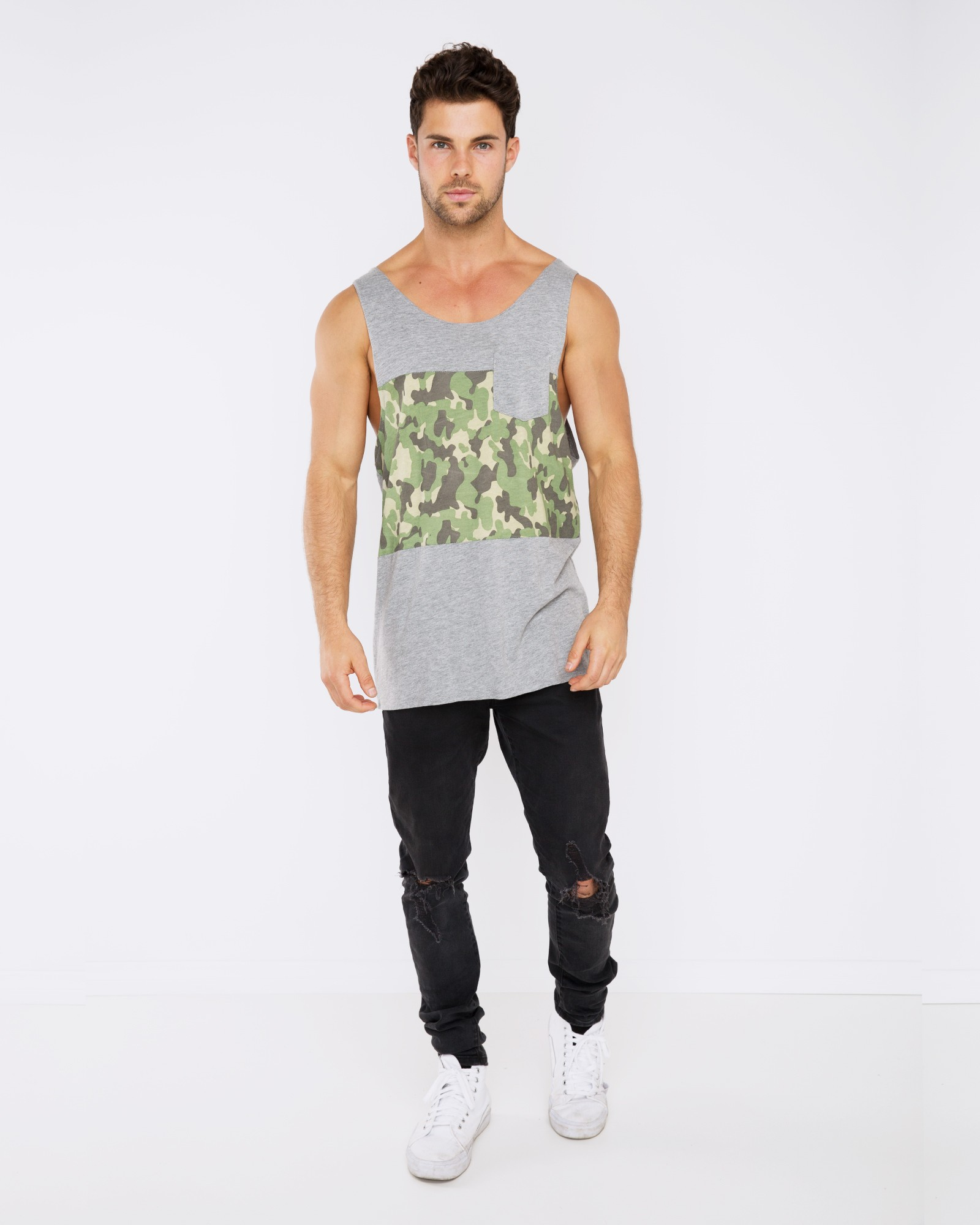 FIND ME IN THE WOODS MARBLE GREY SINGLET