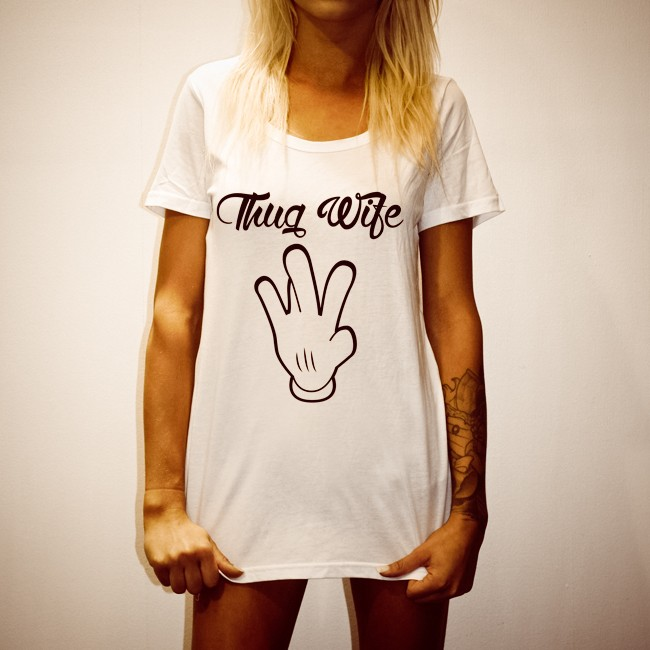 MISS THUG WIFE WOMENS WHITE TEE