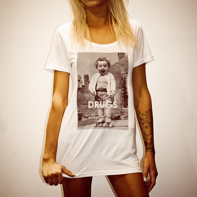 DRUGS WHITE WOMENS TEE