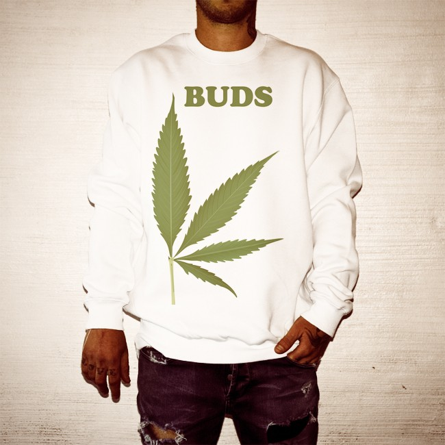 BUDS LEAF WHITE CREW
