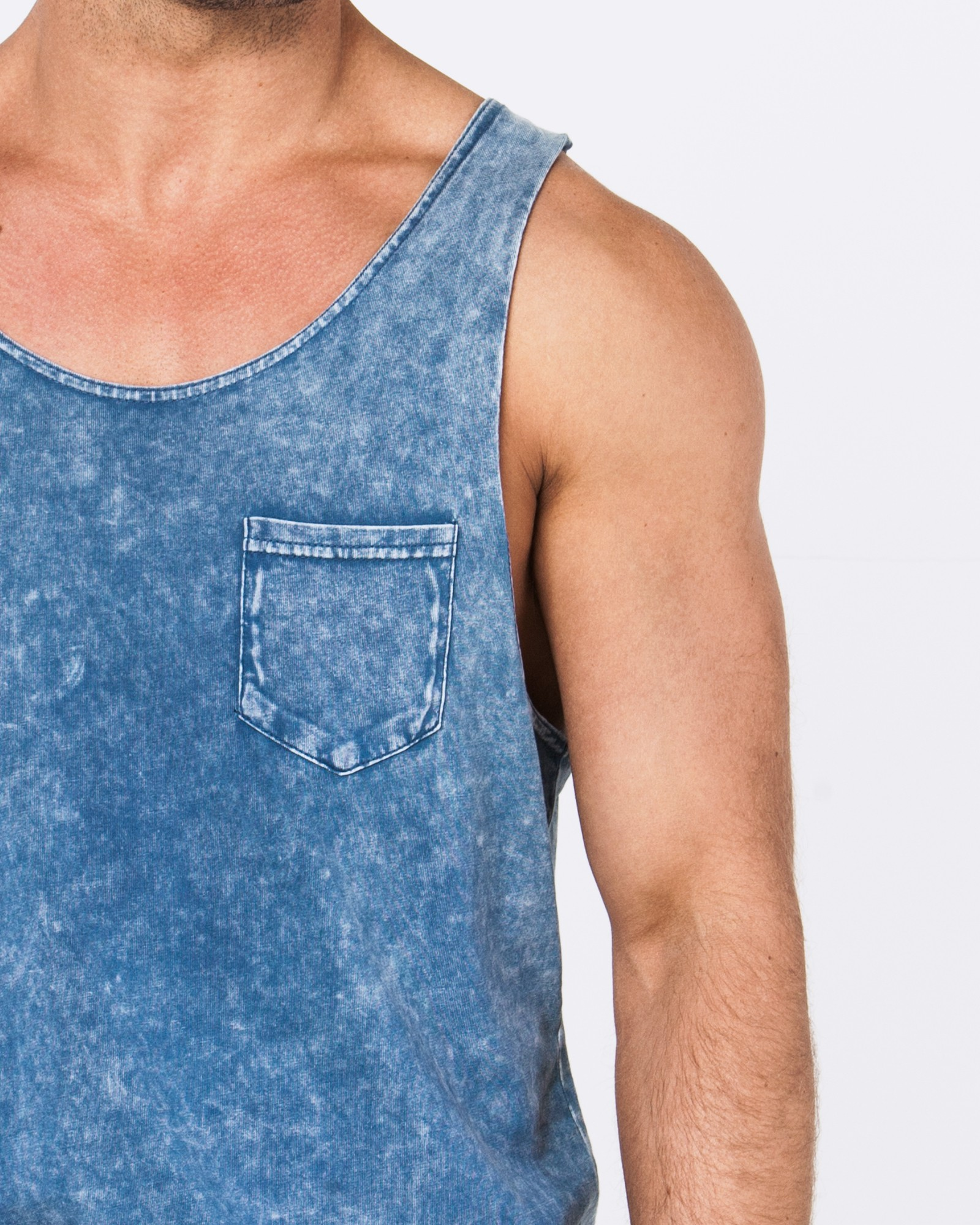 RIP MY POCKET ACID BLUE SINGLET