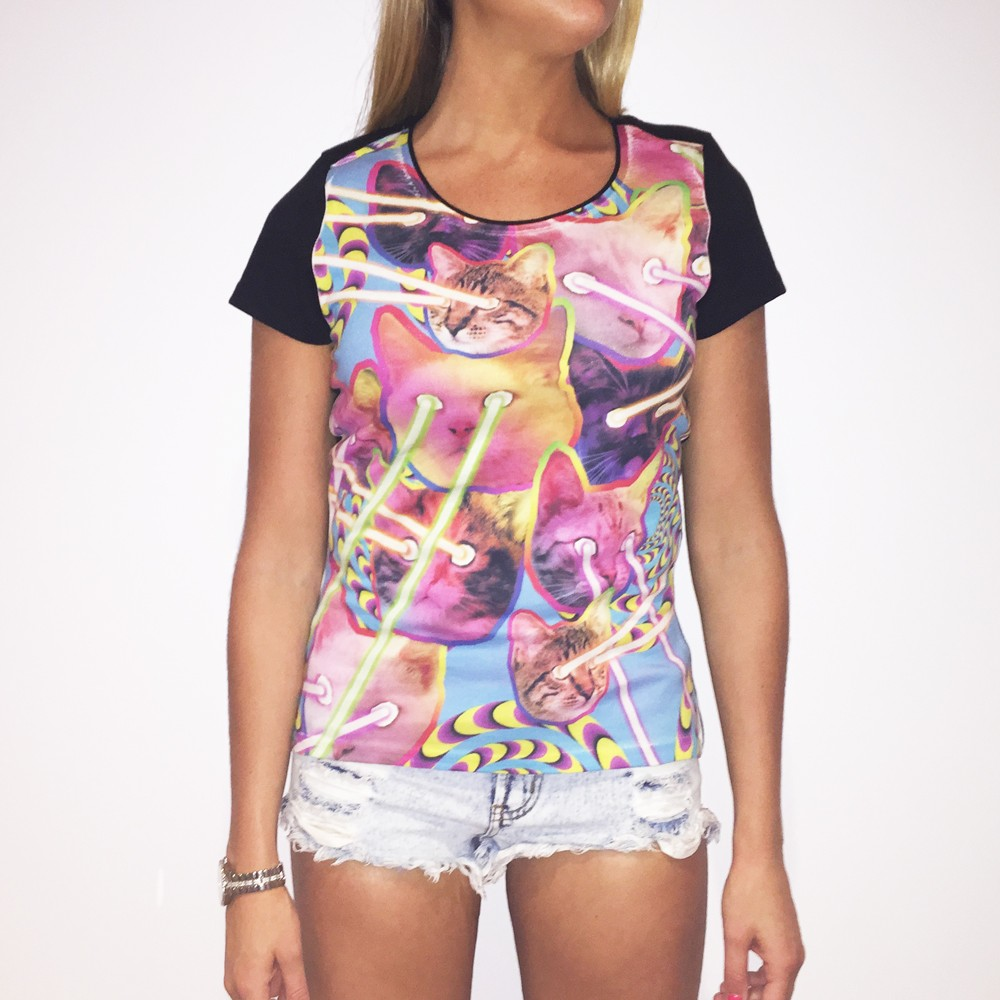 FULL PRINT LAZER CAT WOMENS T-SHIRT