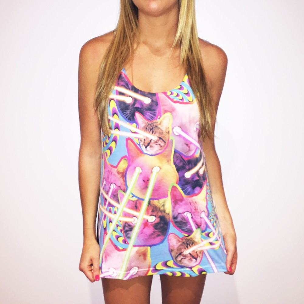 FULL PRINT LAZER CAT WOMENS SINGLET