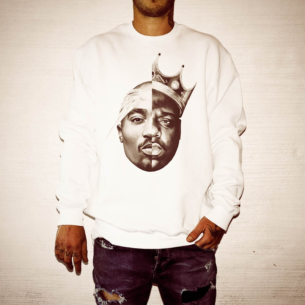 TUPAC/BIGGIE WHITE CREWNECK