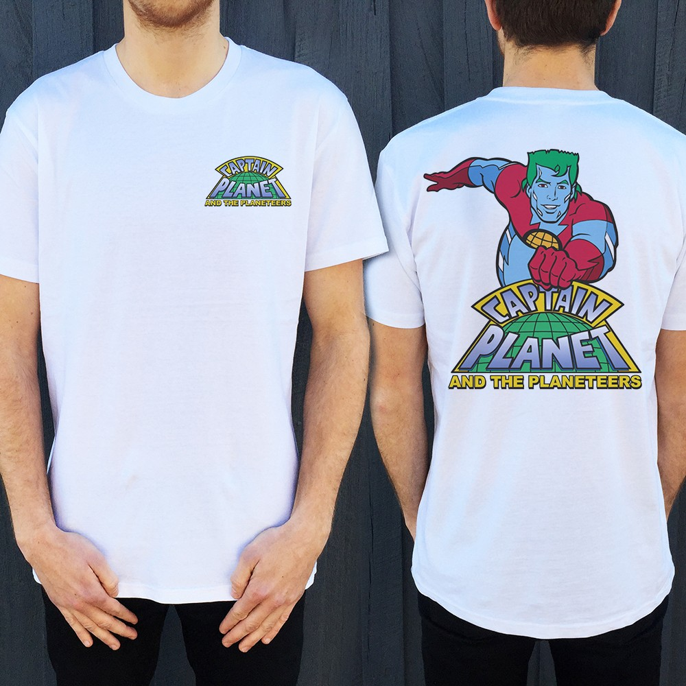 CAPTAIN PLANET FRONT AND BACK WHITE TEE
