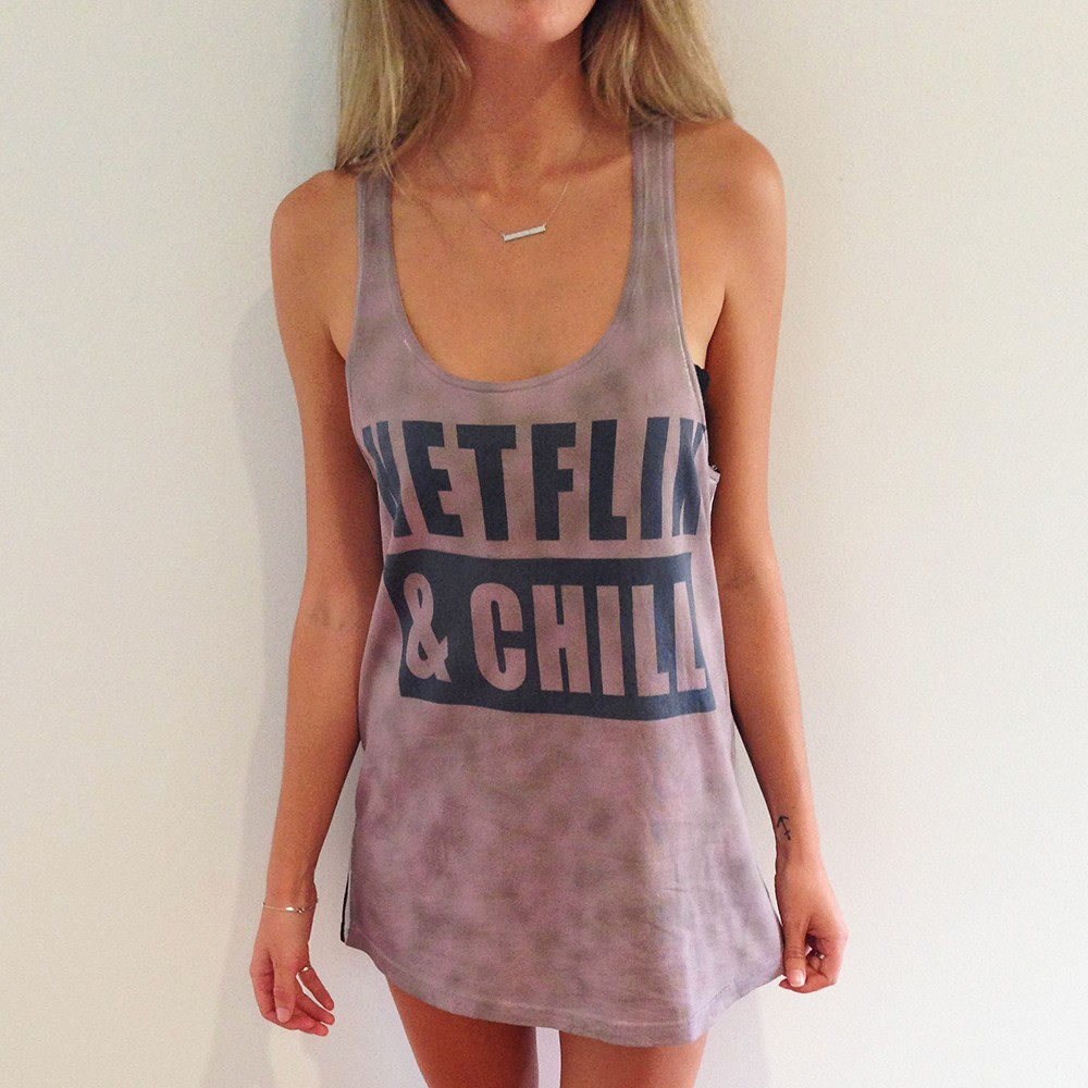 FULL PRINT NETFLIX AND CHILL WOMENS SINGLET