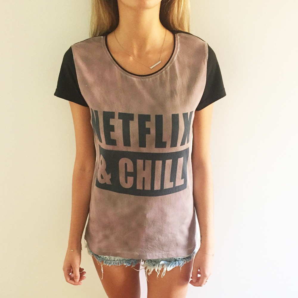 FULL PRINT NETFLIX AND CHILL T-SHIRT