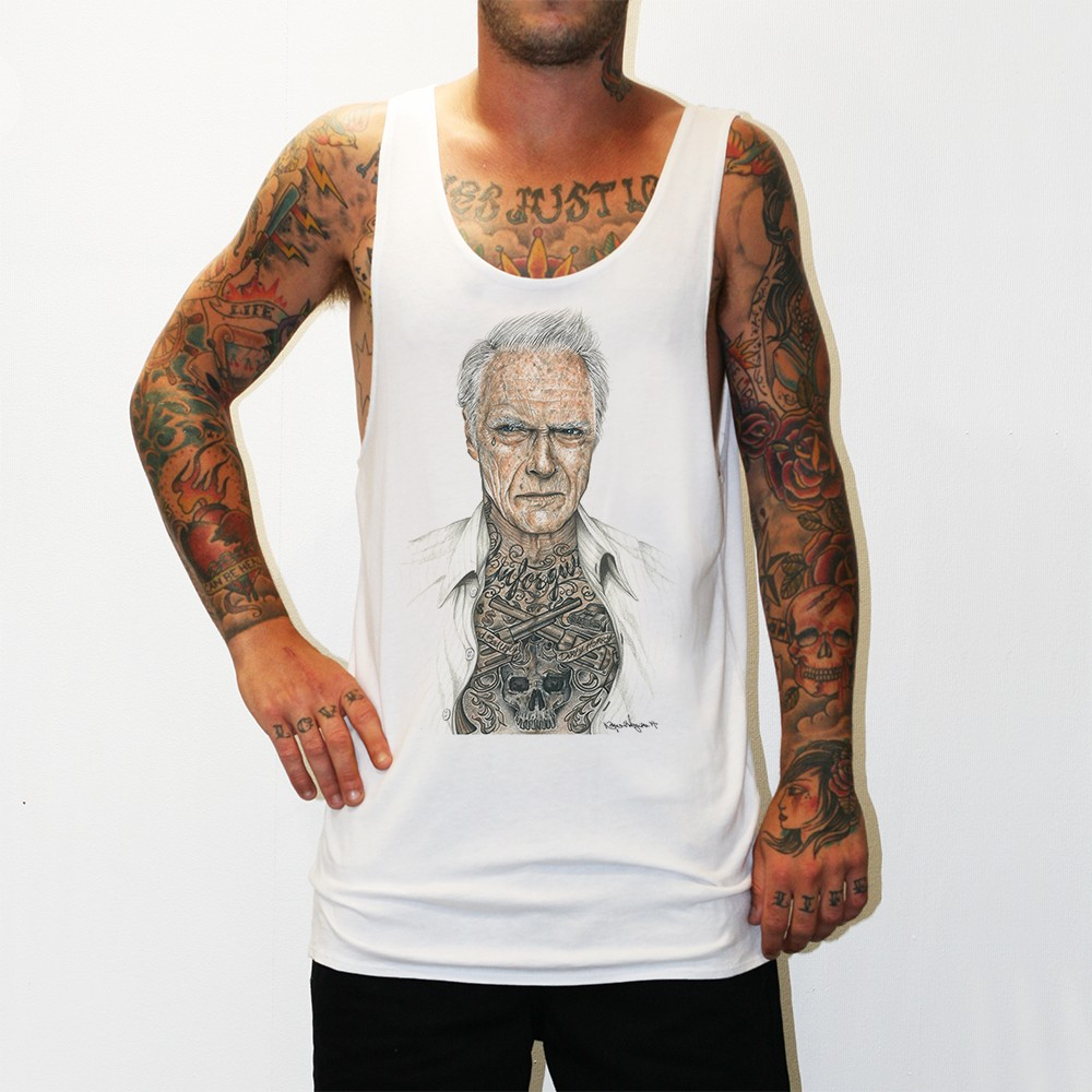 CLINT EASTWOOD WHITE SINGLET