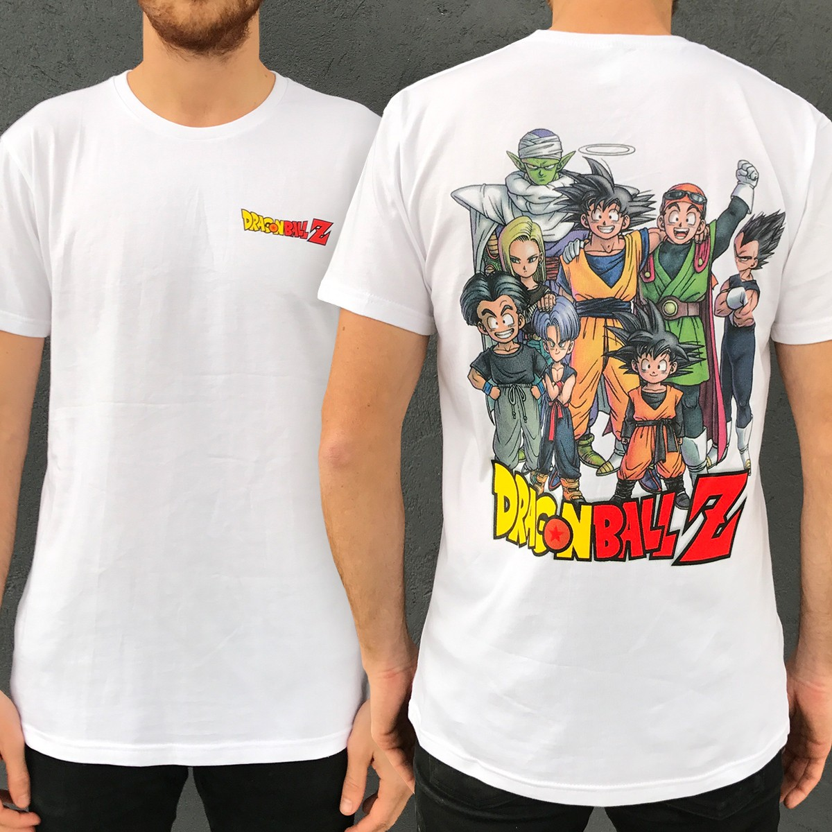 Z FIGHTERS FRONT AND BACK WHITE TEE DBZ