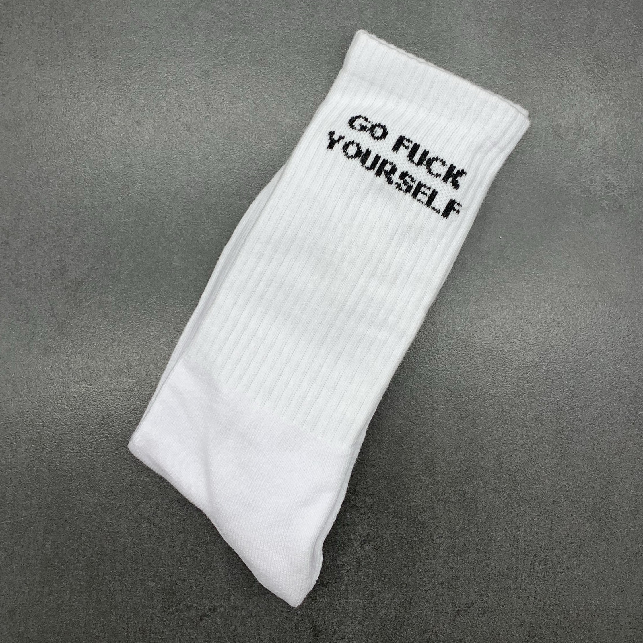 WHITE GO FUCK YOURSELF SOCKS