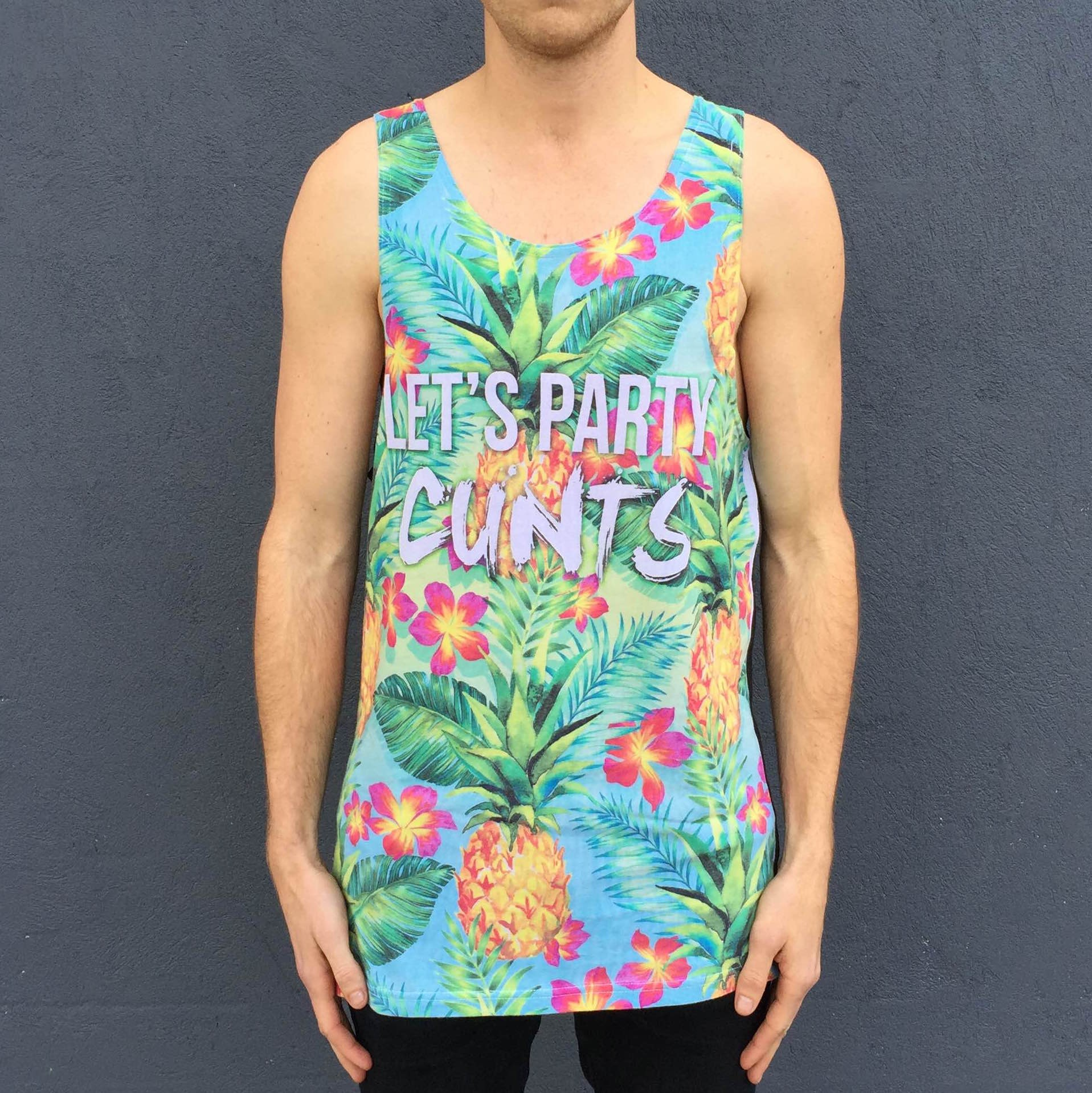 FULL PRINT LETS PARTY SINGLET