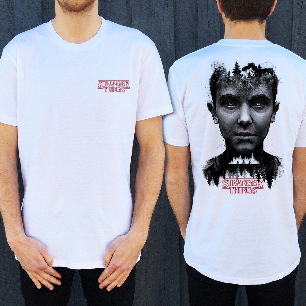 STRANGER THINGS FRONT AND BACK WHITE TEE