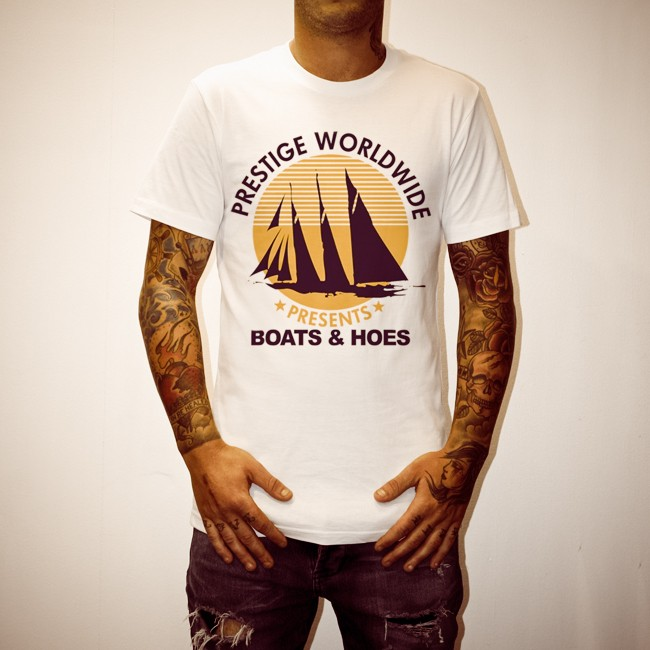 BOATS AND HOES WHITE TEE
