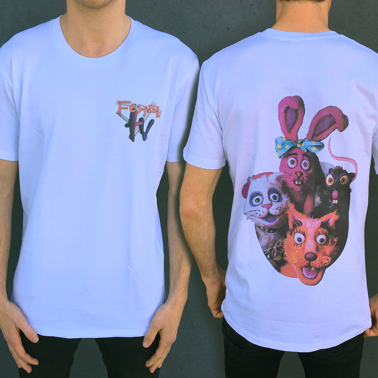FERAL CHARACTERS FRONT AND BACK TEE