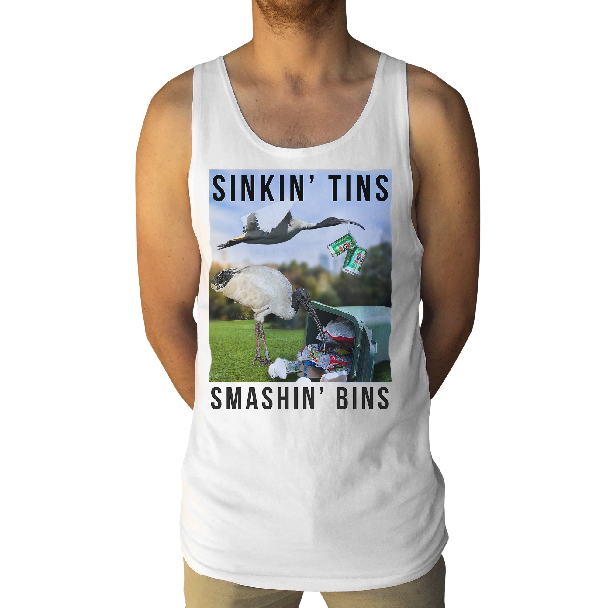 BIRD JESUS WHITE SINGLET