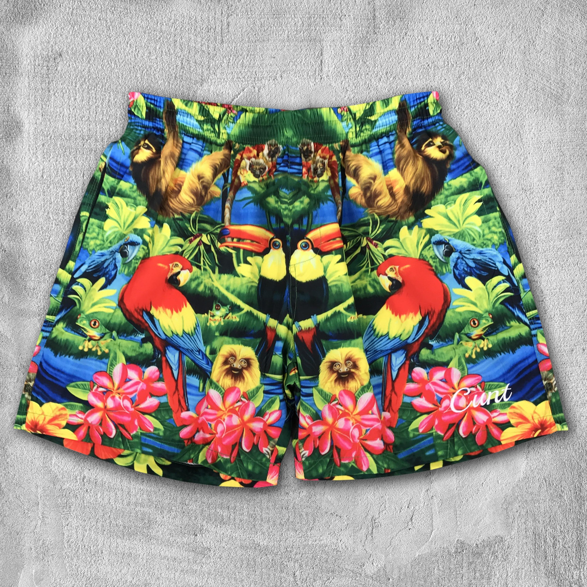 TROPICUNT EMBROIDERED BEACH SHORTS