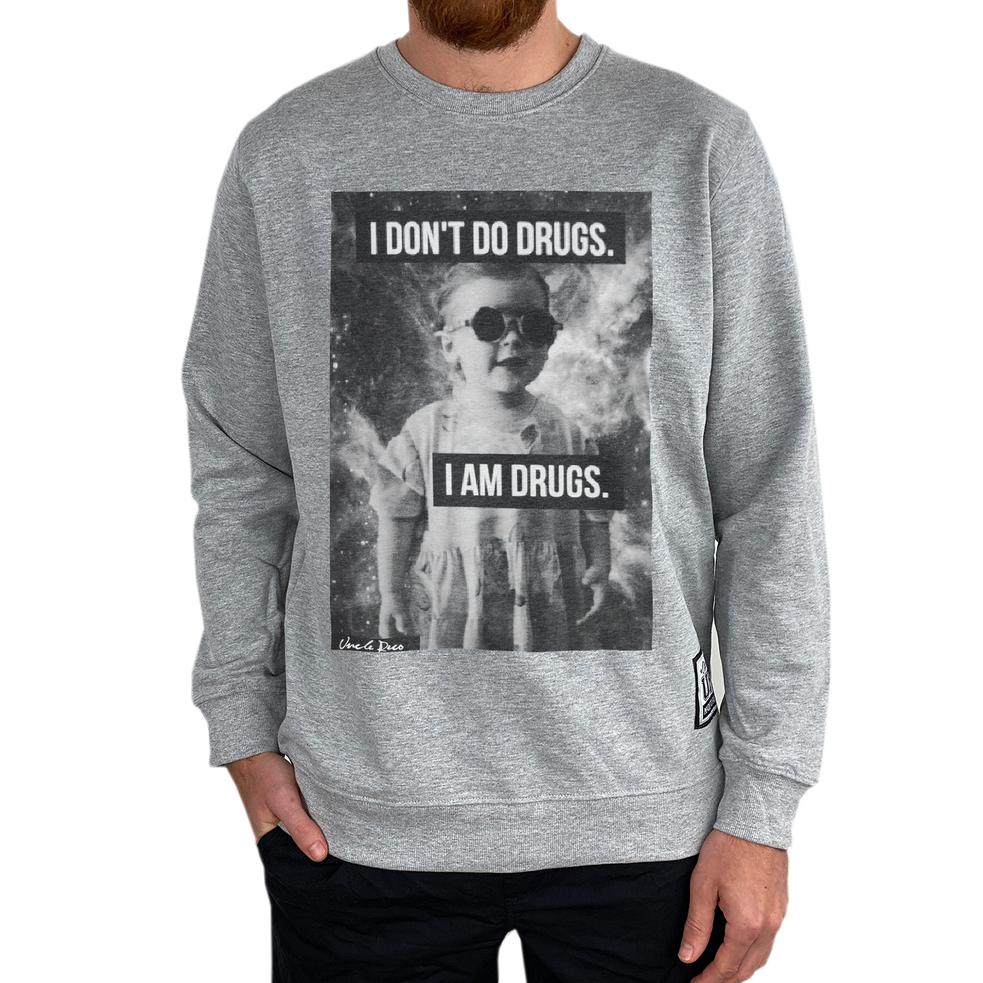I DON'T DO DRUGS MARBLE GREY CREW