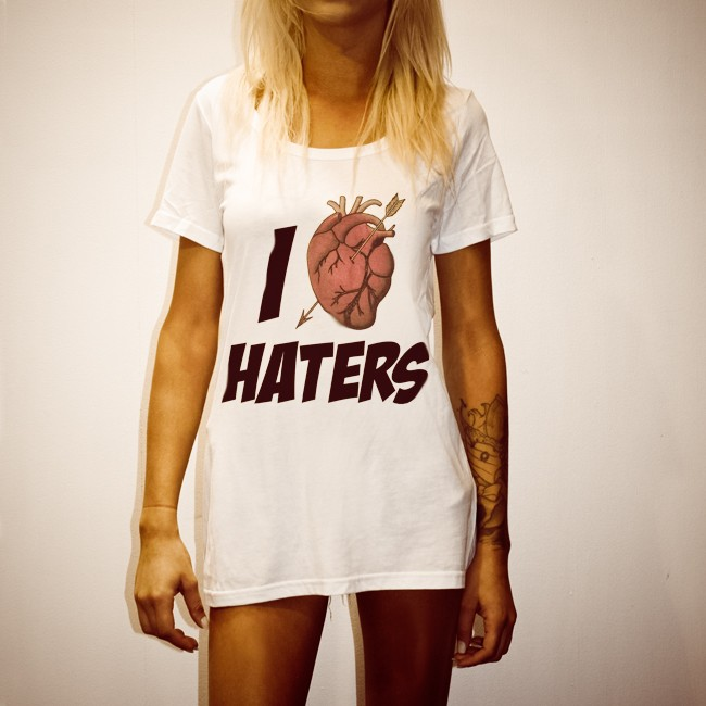 I HEART HATERS WHITE TEE