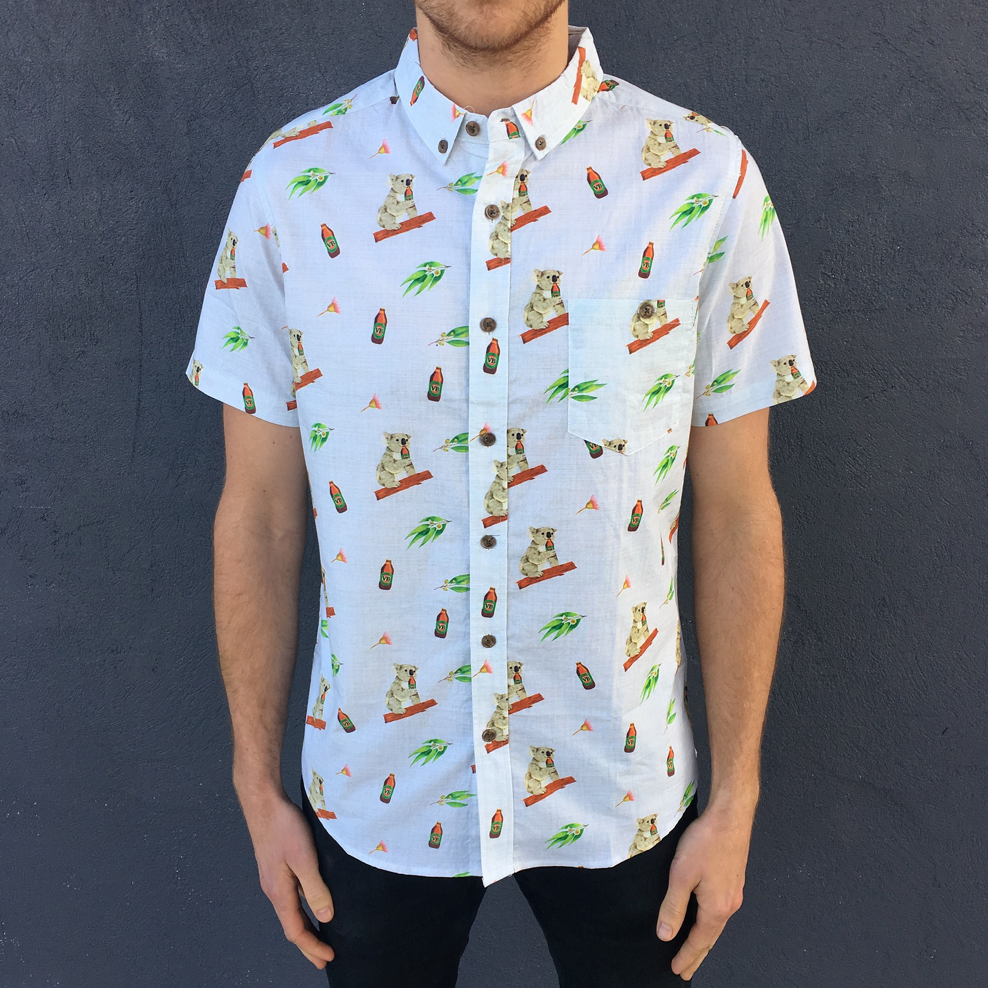 KOALA BEERS BUTTON UP PARTY SHIRT