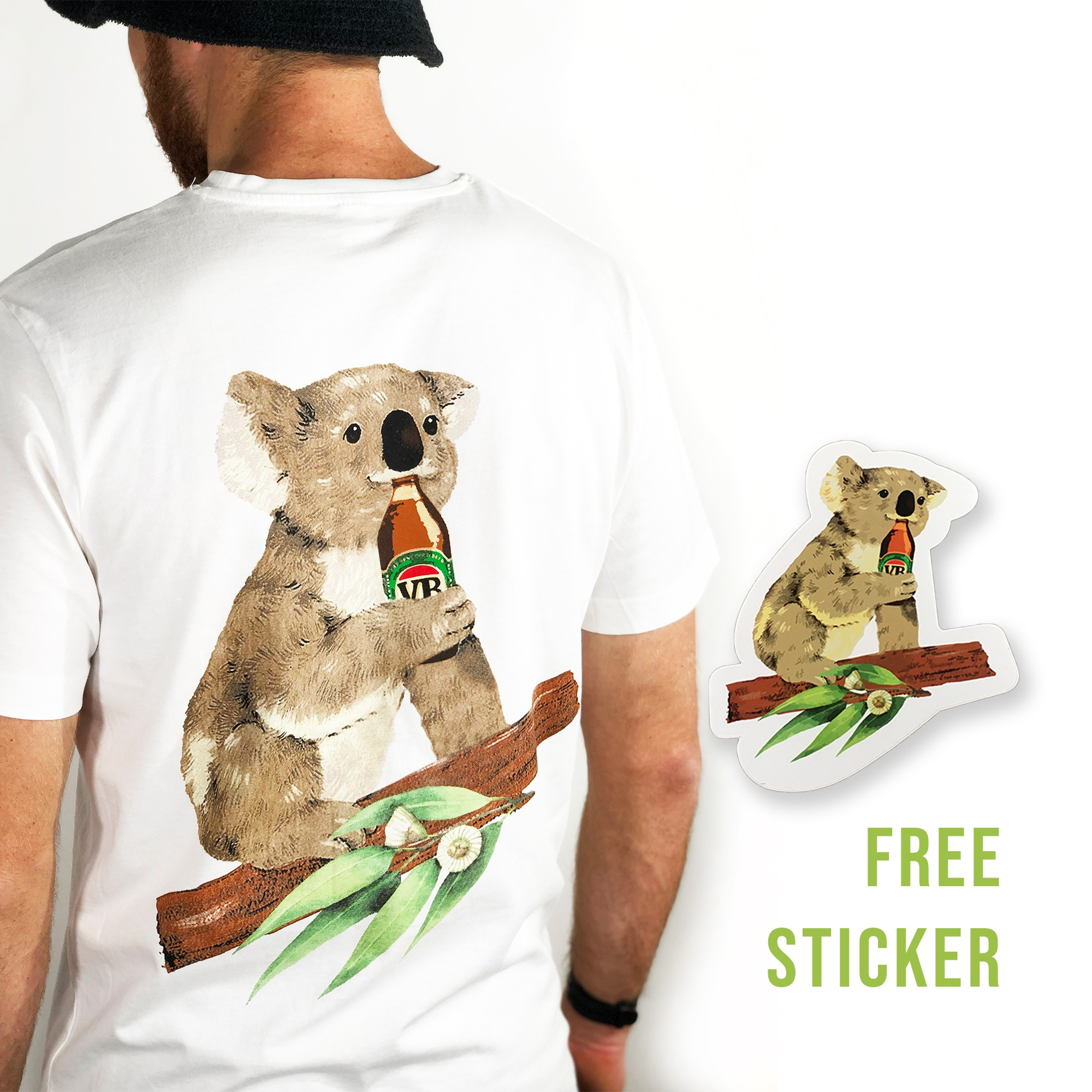 KOALA BEERS FRONT AND BACK WHITE TEE FS
