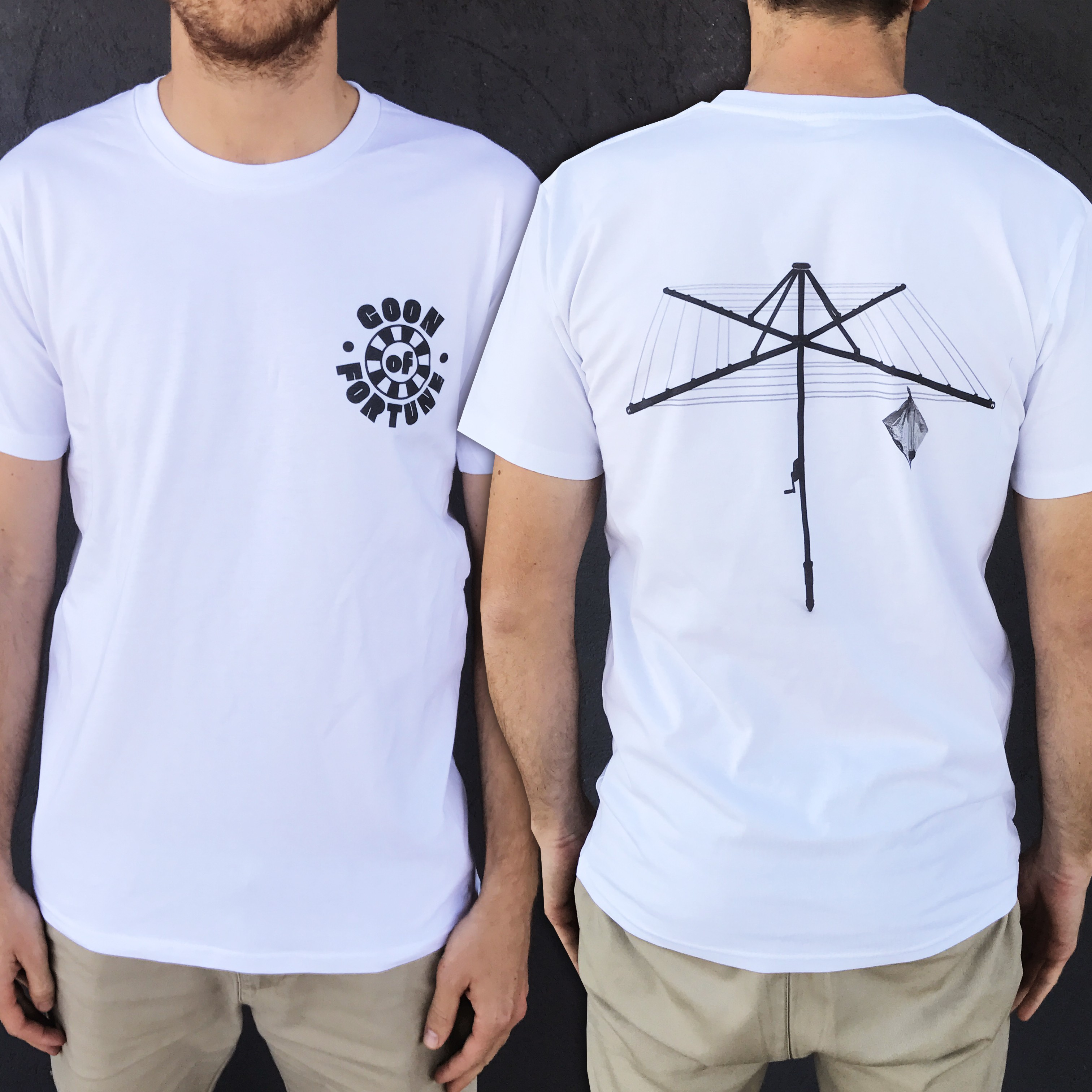 GOON OF FORTUNE FRONT AND BACK WHITE TEE