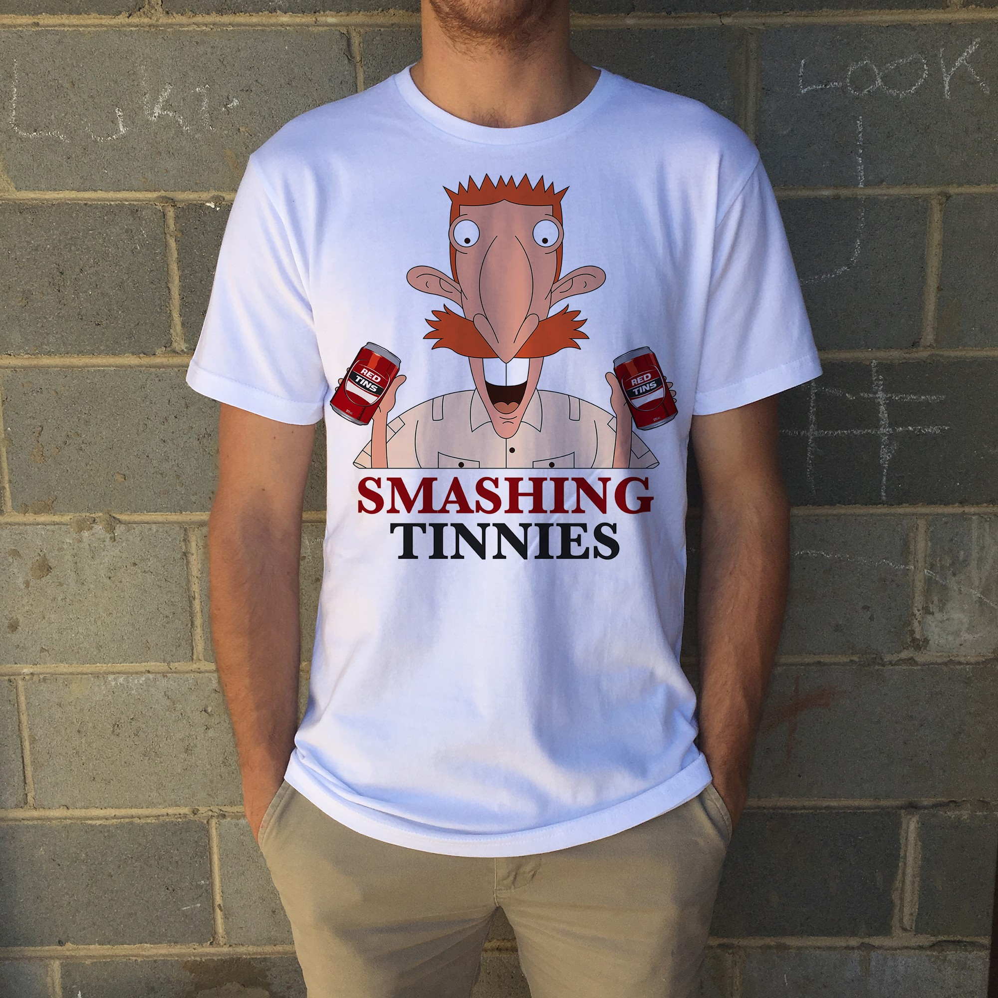 SMASHING RED TINNIES TEE