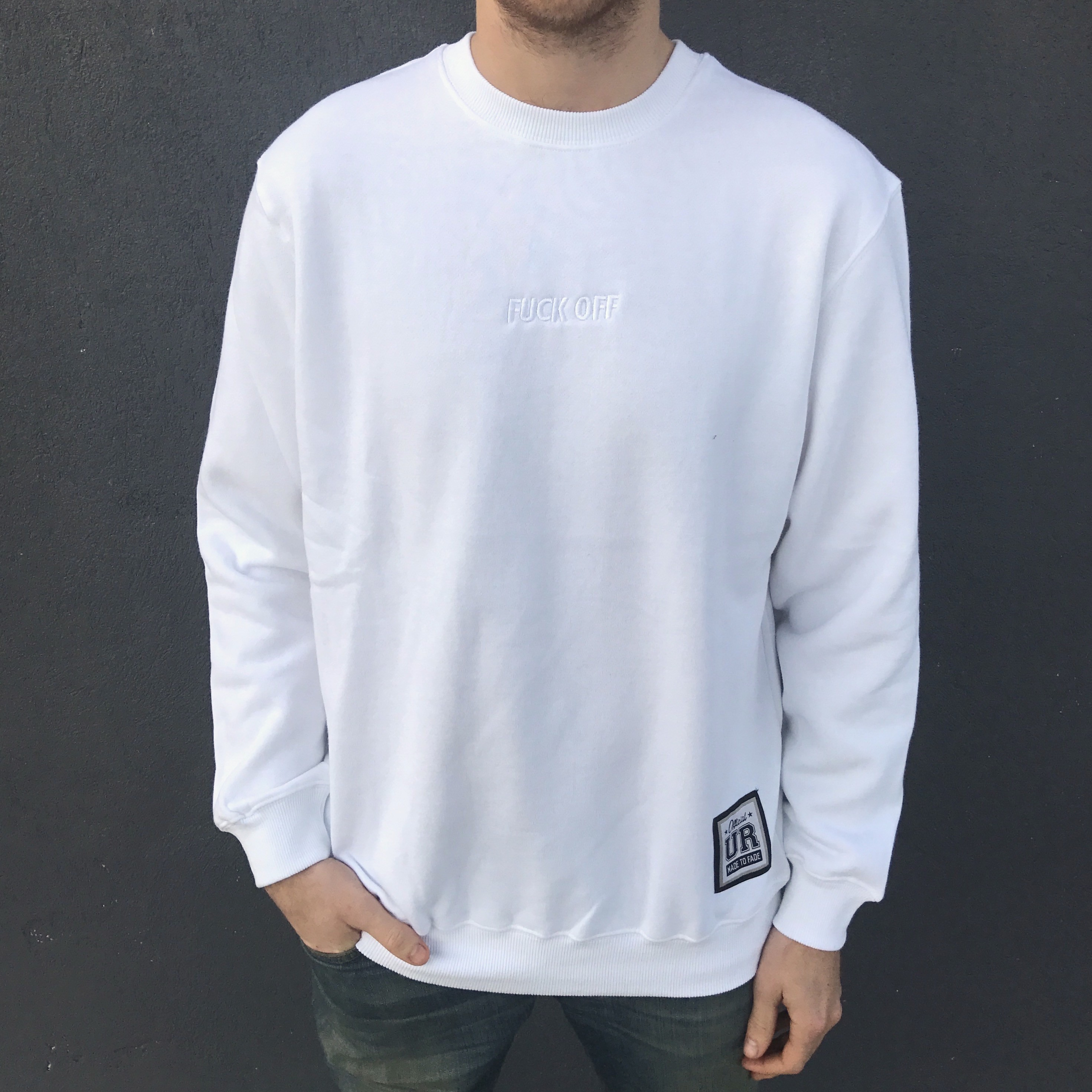F OFF EMBROIDERED WHITE CREW