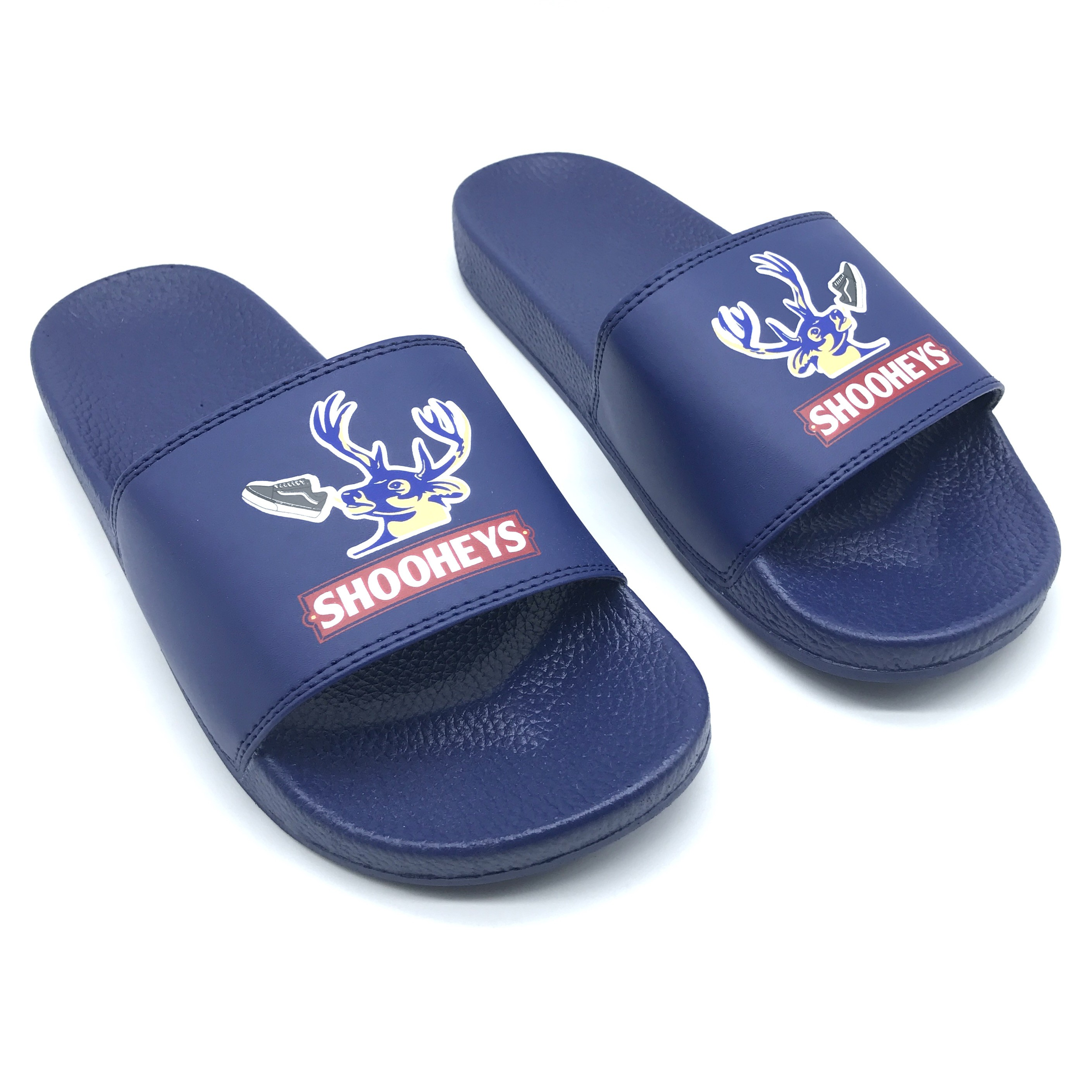 SHOOHEYS NAVY SLIDES