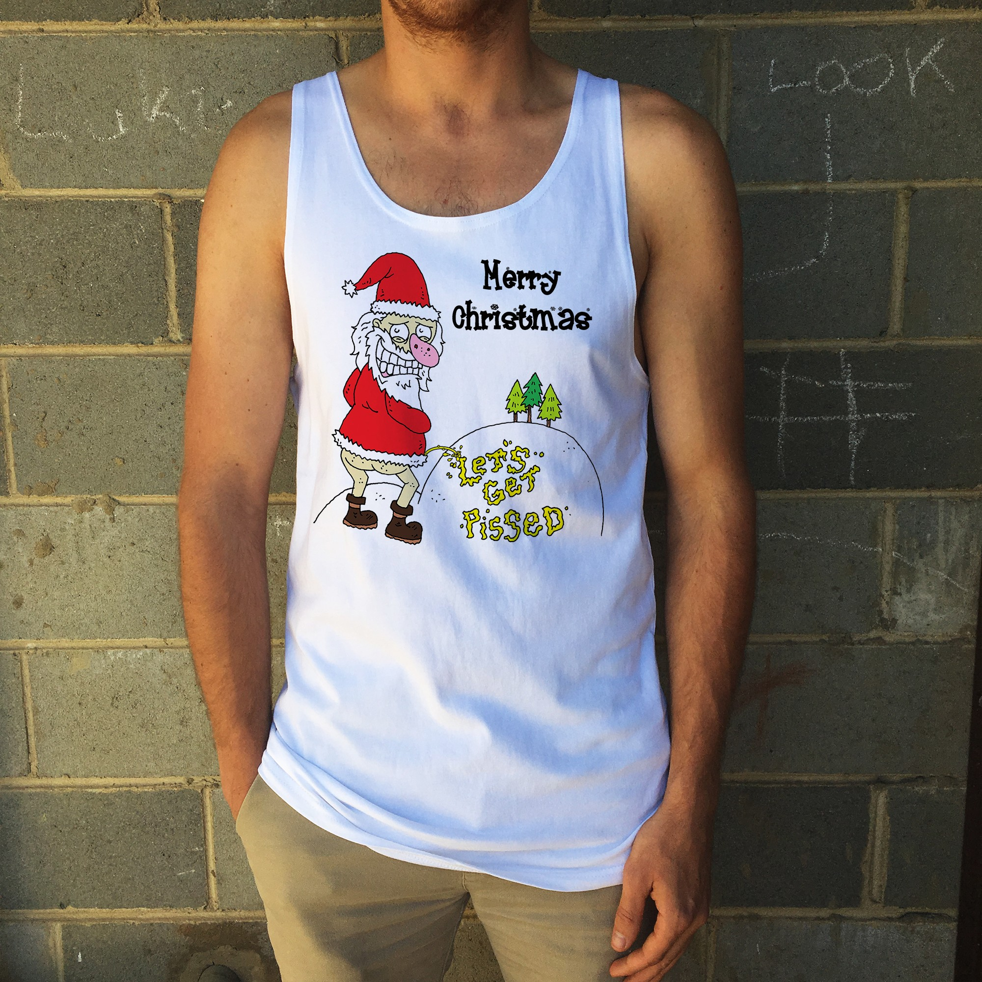LETS GET PISSED XMAS WHITE SINGLET