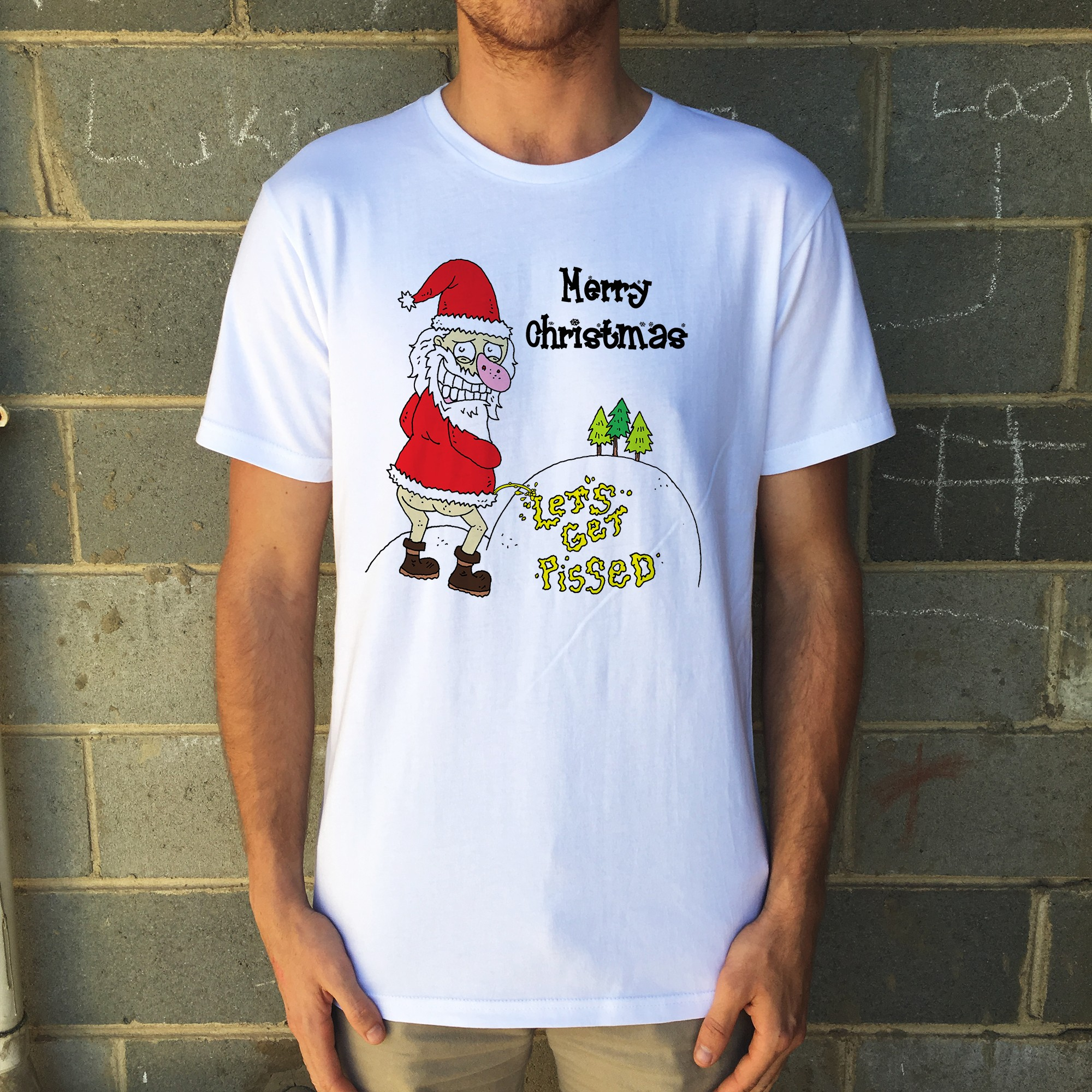 LETS GET PISSED XMAS WHITE TEE