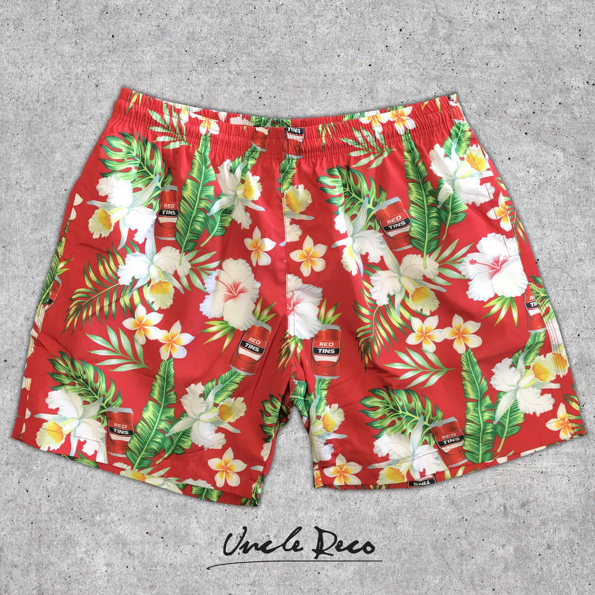 RED TINS HAWAIIAN SWIM SHORTS
