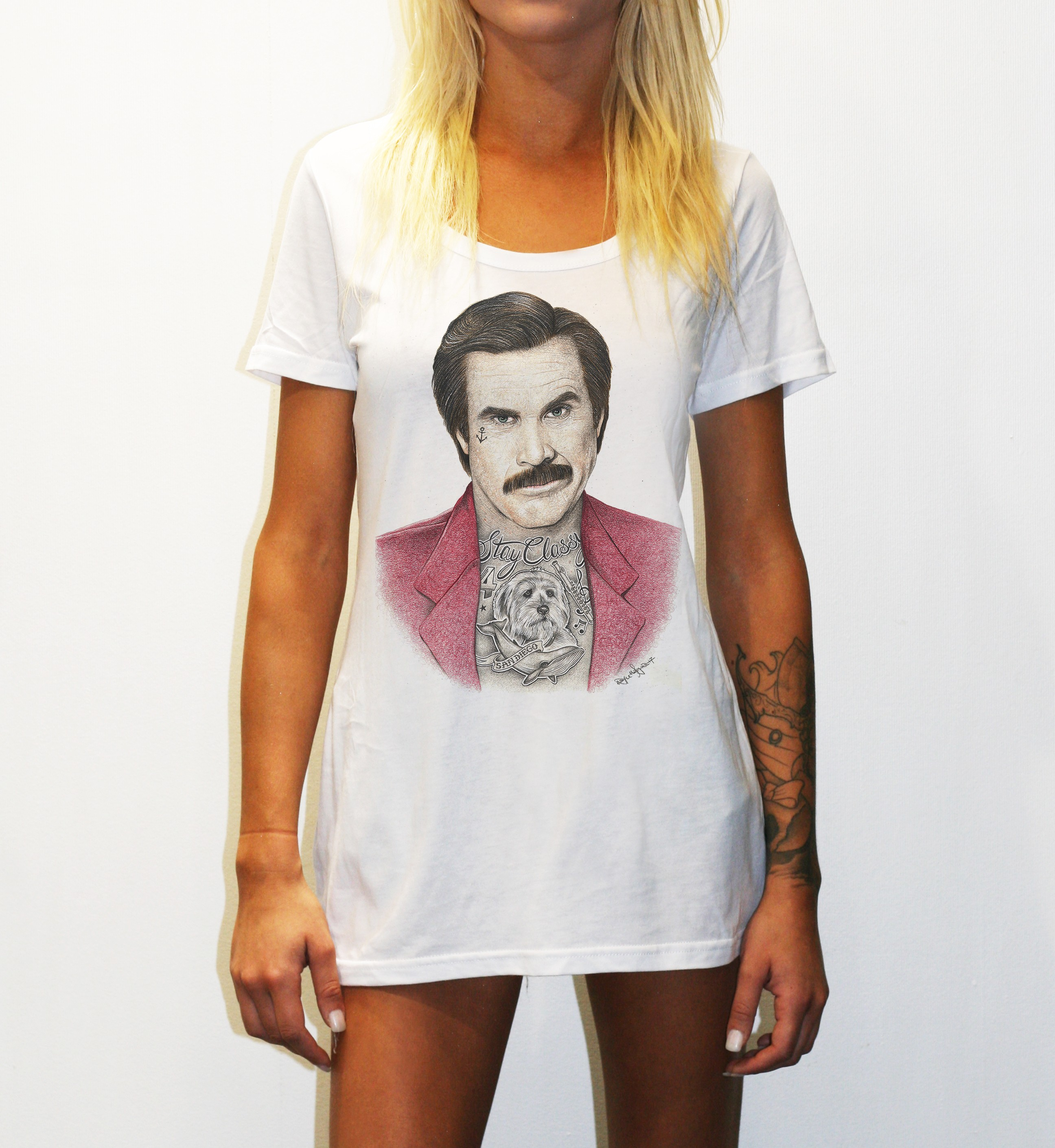 WOMENS INKED ANCHORMAN WHITE TEE, Womens Inked Anchorman White T-Shirt