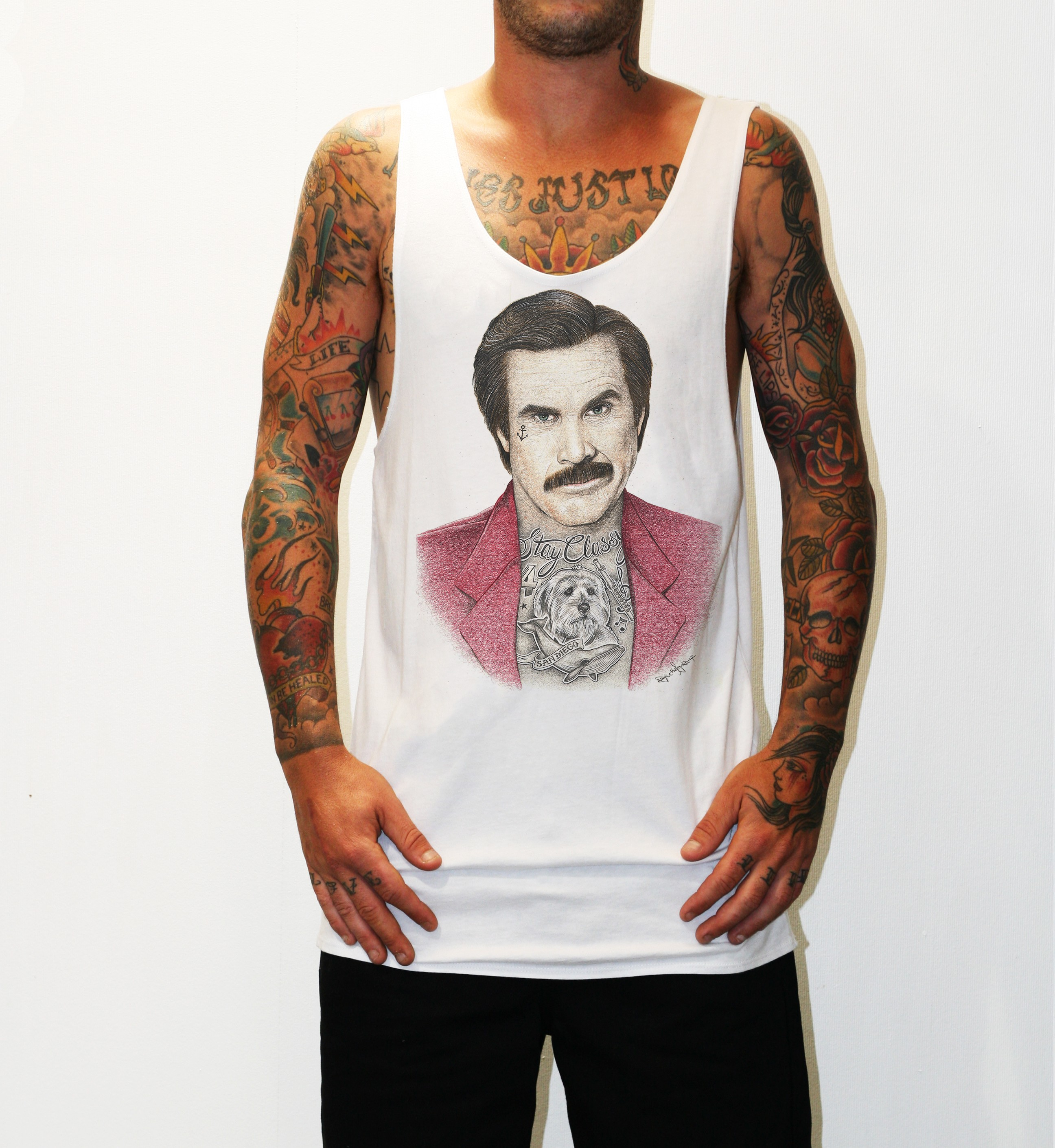 INKED ANCHORMAN WHITE SINGLET