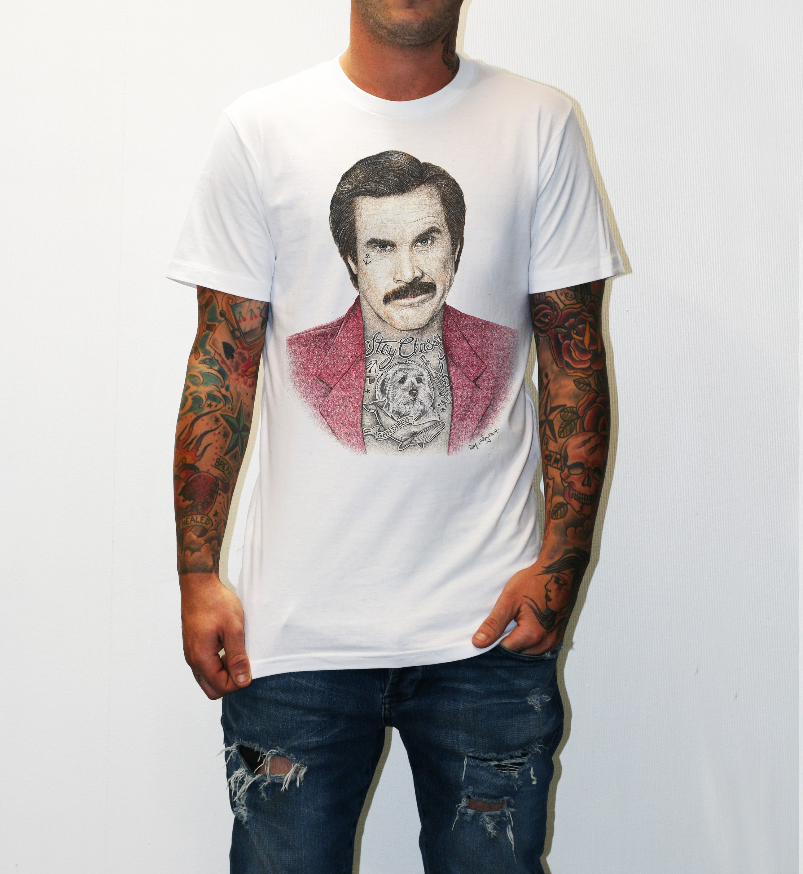 INKED ANCHORMAN WHITE TEE