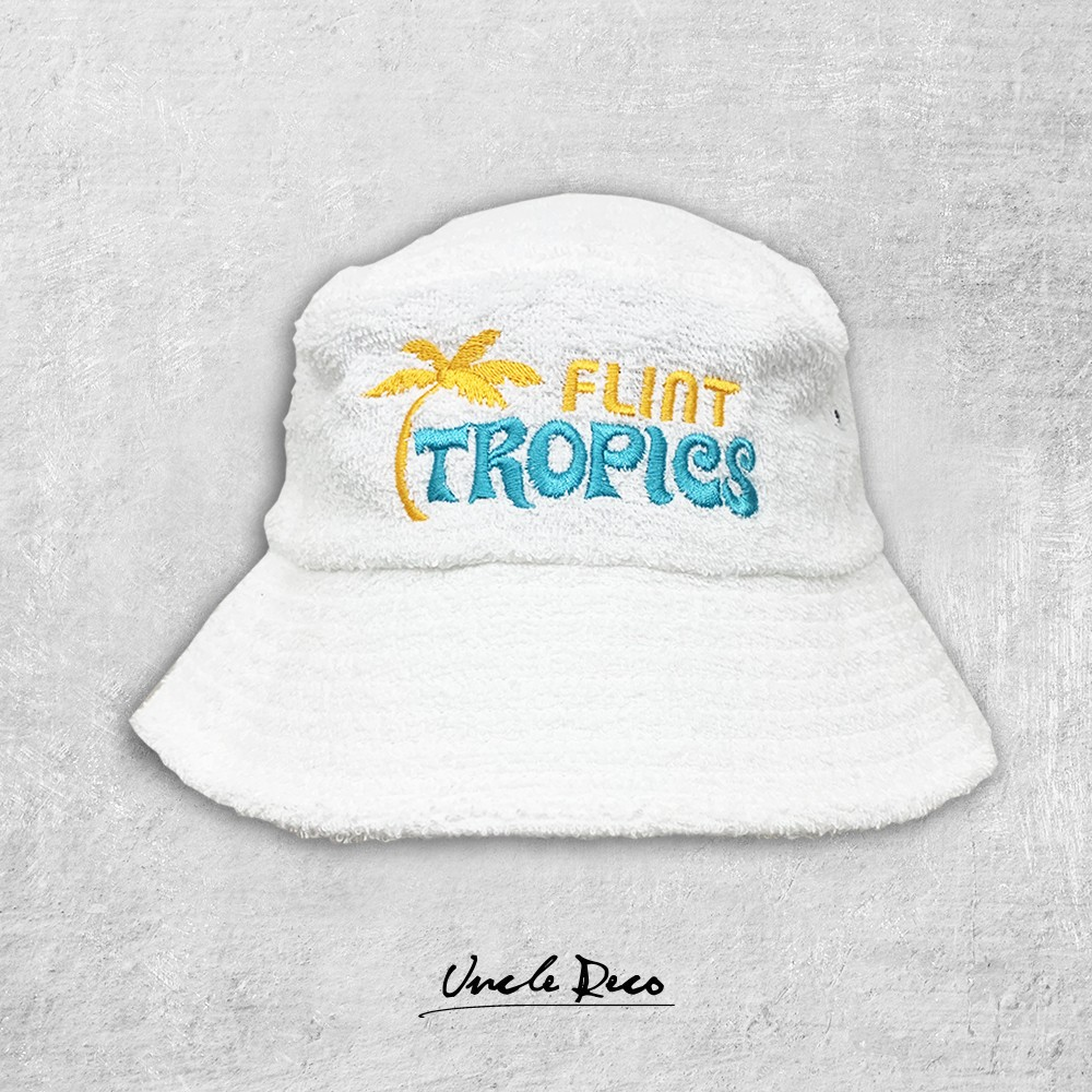 FLINT TROPICS WHITE TERRY TOWELLING BUCKET HAT