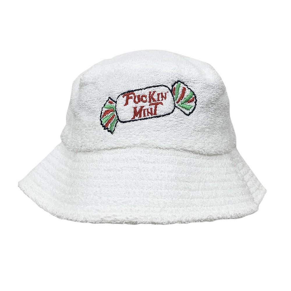 MINT WHITE TERRY TOWELLING BUCKET HAT