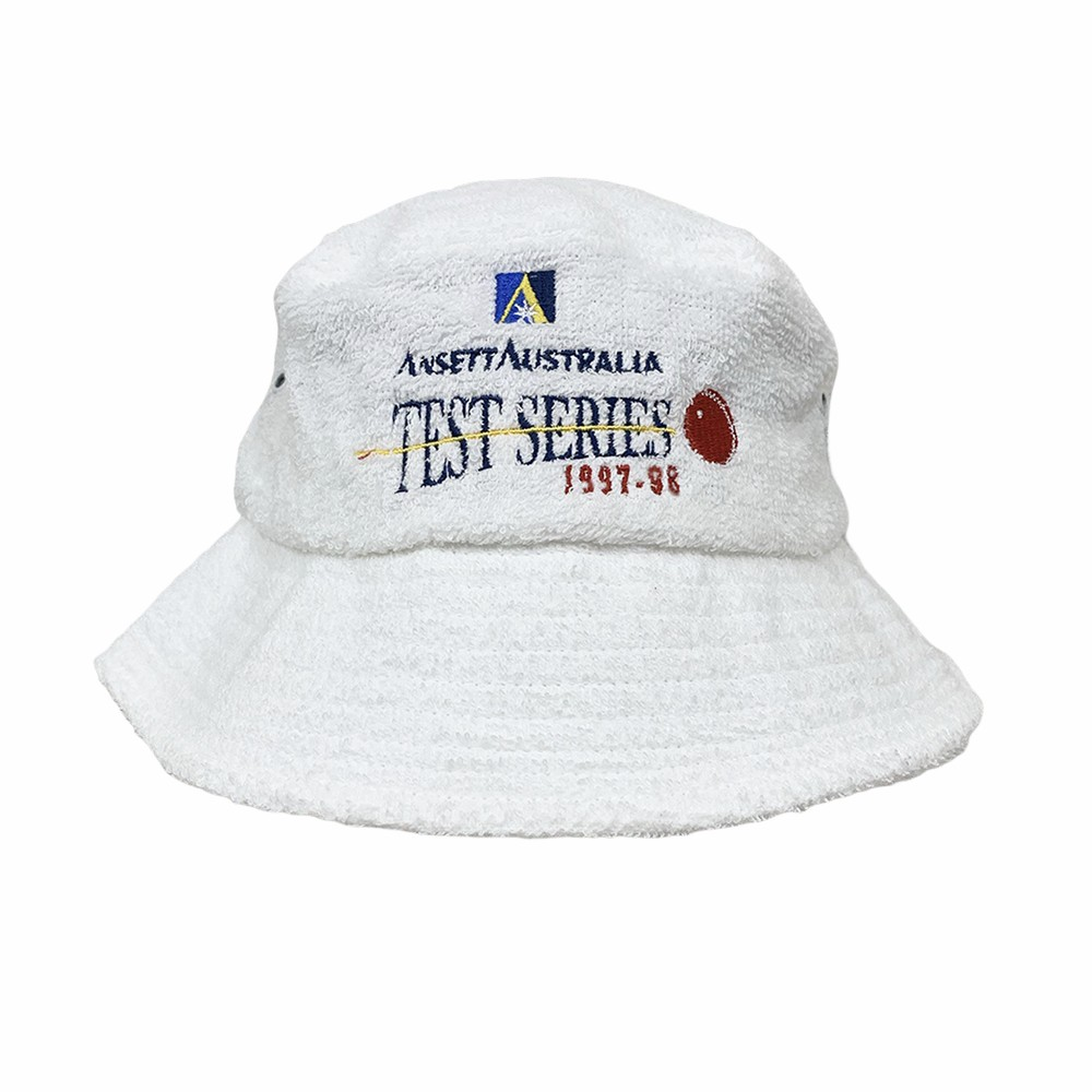 VINTAGE TEST SERIES WHITE TERRY TOWELLING BUCKET HAT