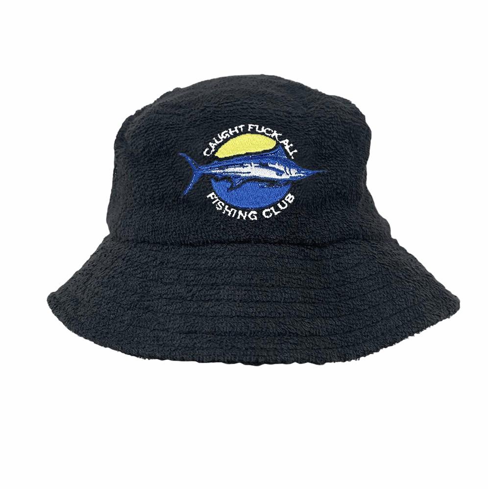 BLACK FISHING CLUB TERRY TOWELLING BUCKET HAT