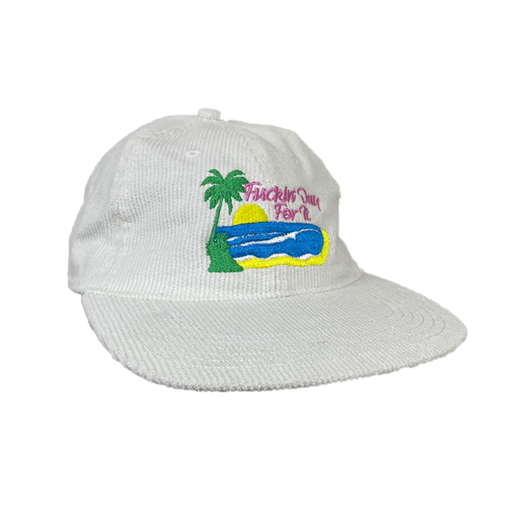 DAY FOR IT WHITE CORDUROY HAT