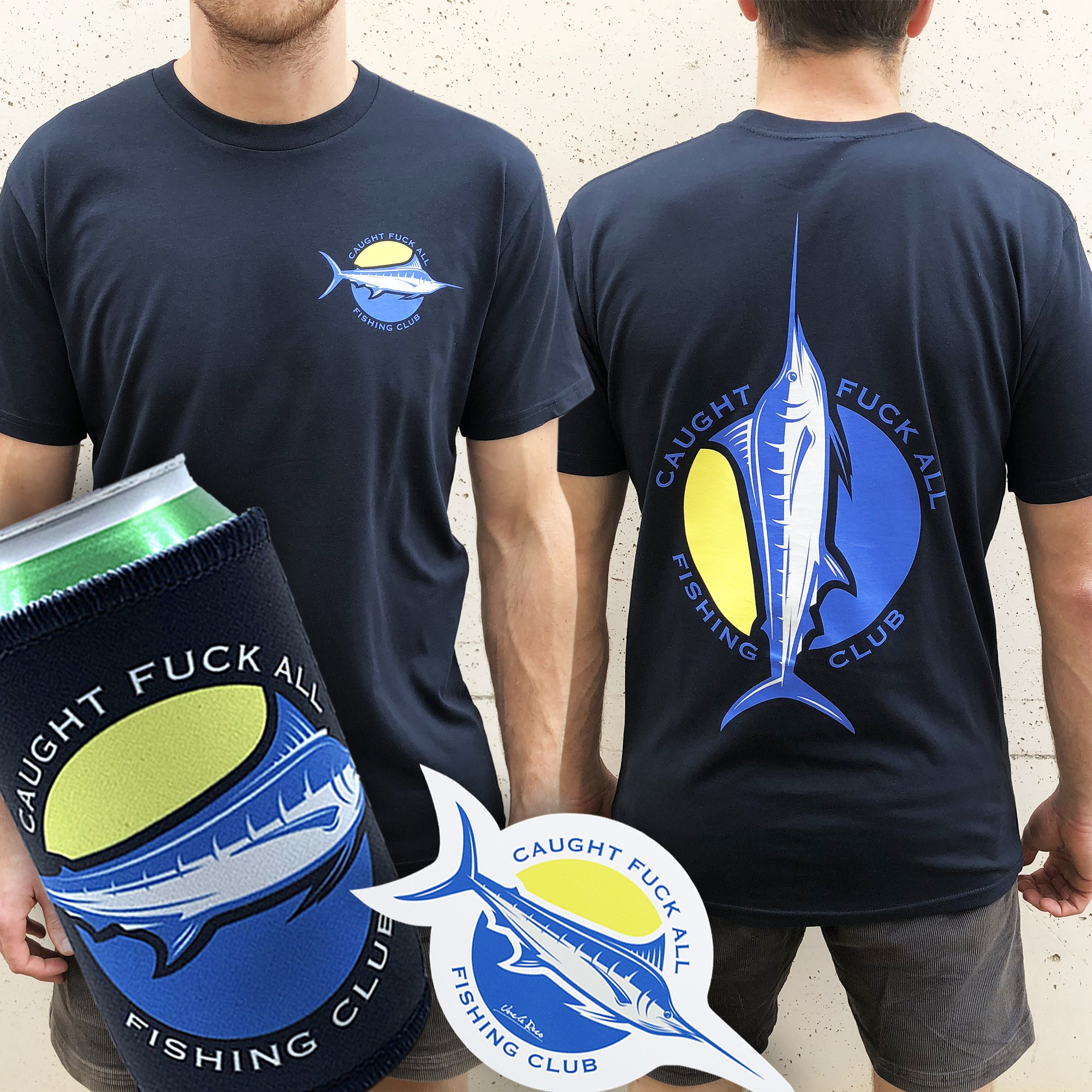 NAVY FISHING CLUB TEE + FREE STUBBY HOLDER AND STICKER