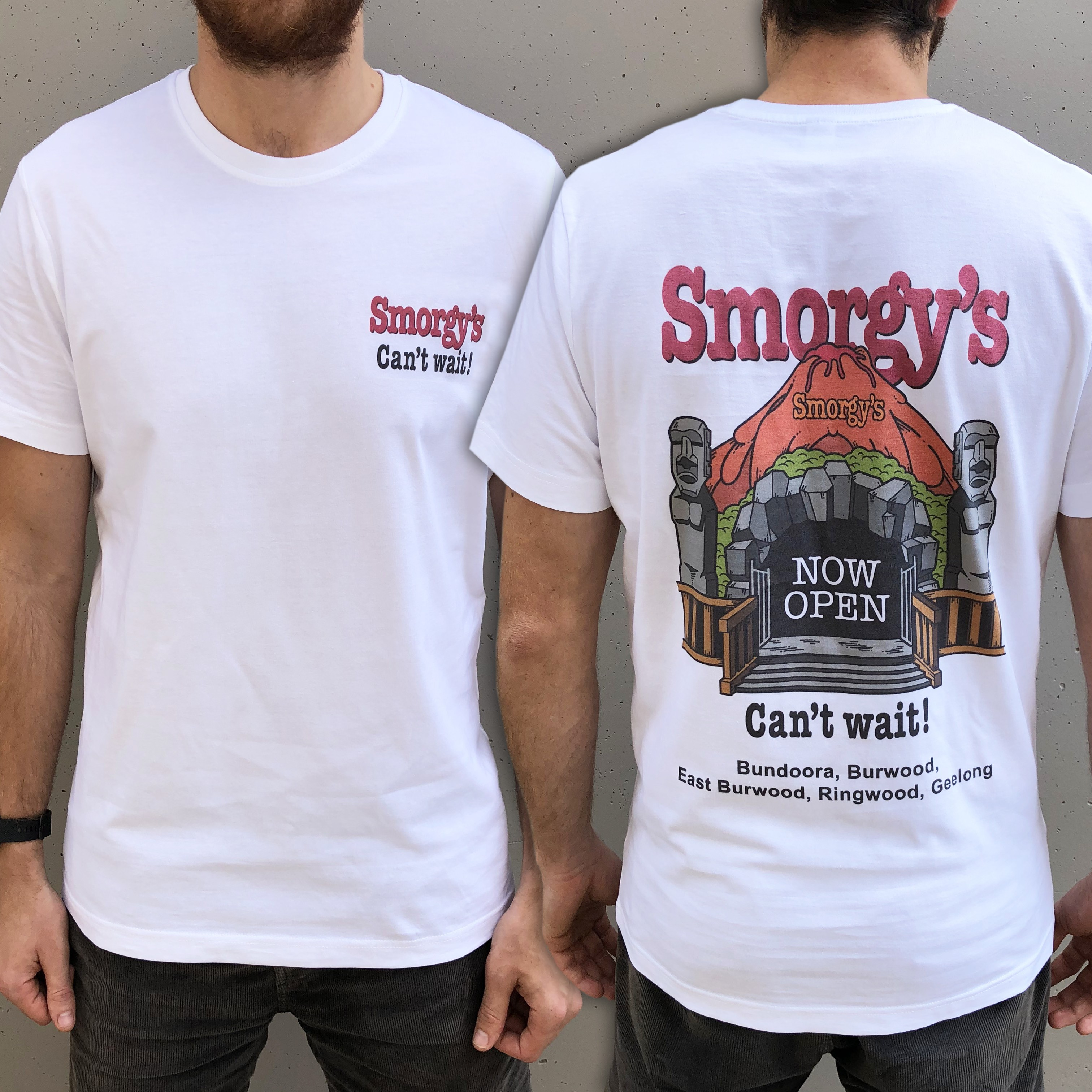 SMORGYS FRONT AND BACK WHITE TEE