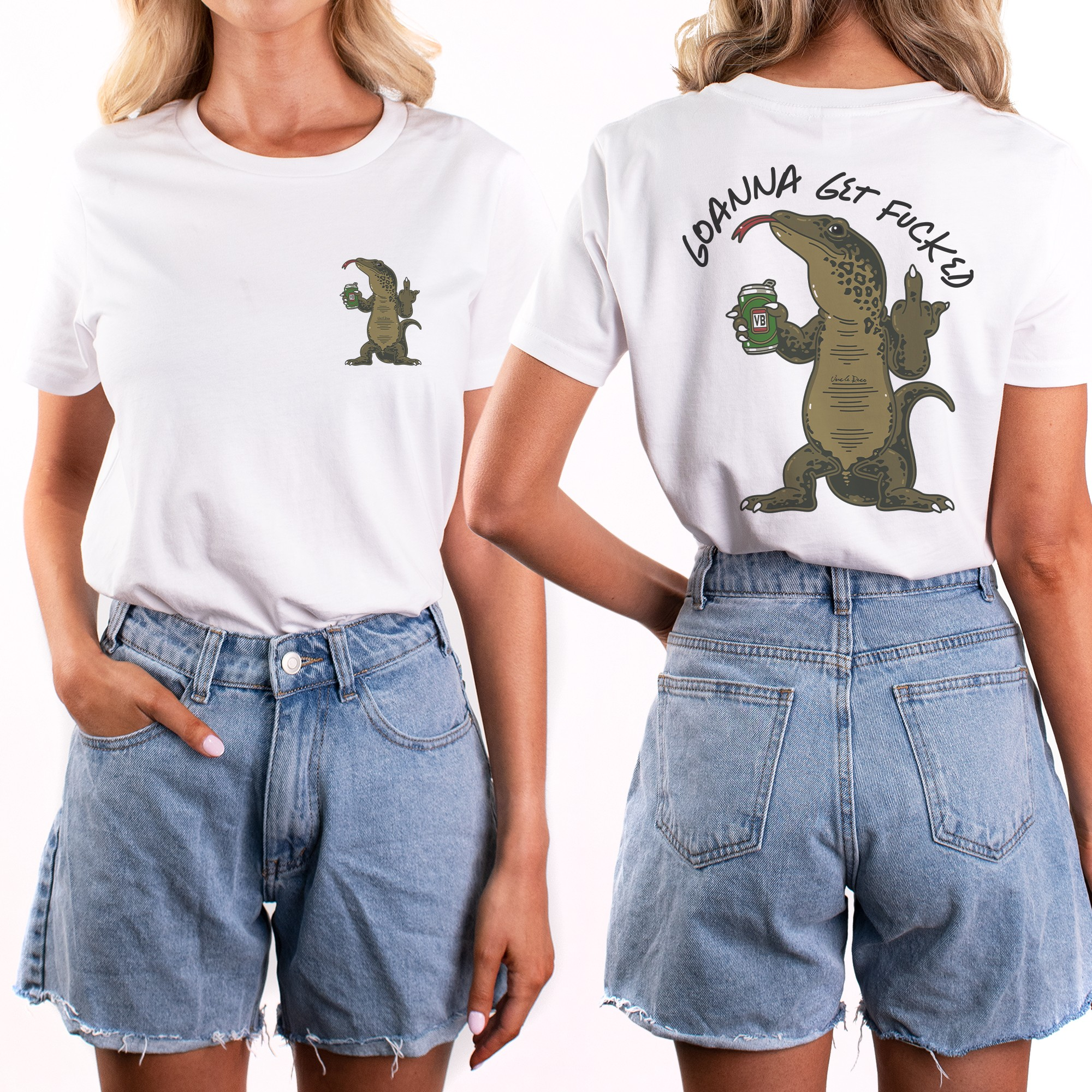 GOANNA FRONT AND BACK WHITE TEE