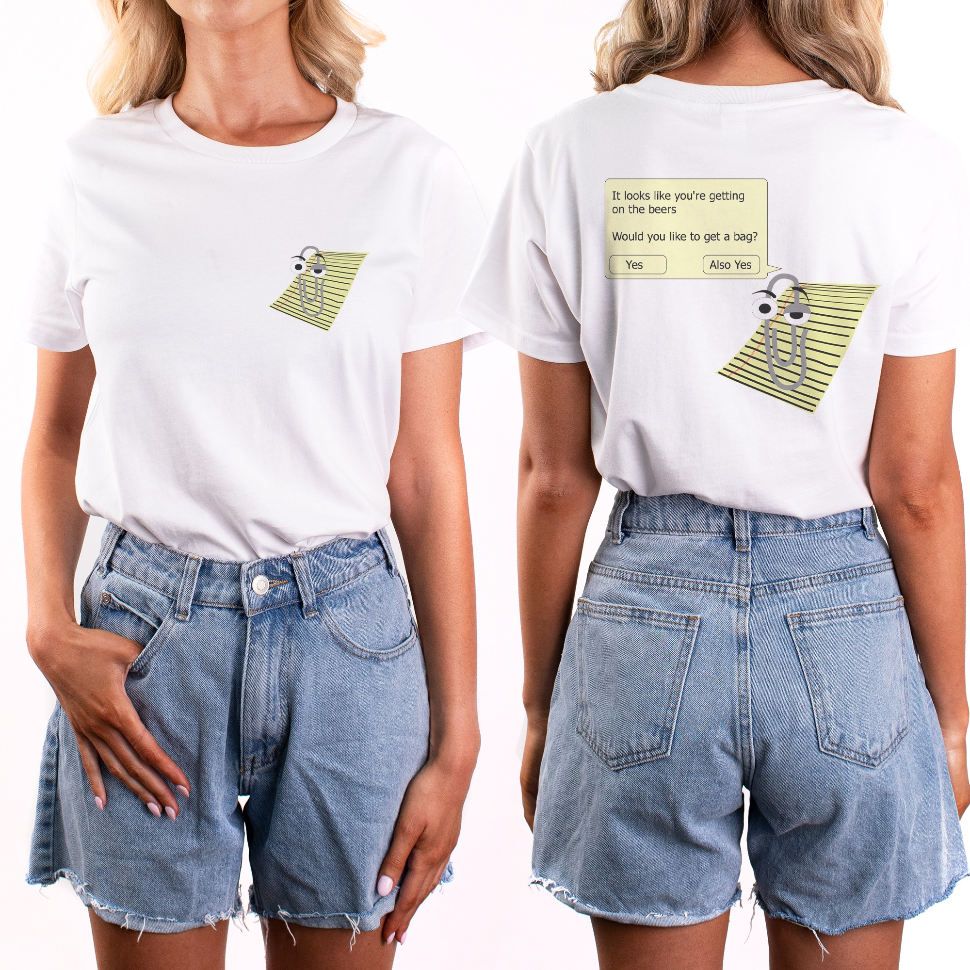 CLIPPY FRONT AND BACK WHITE TEE