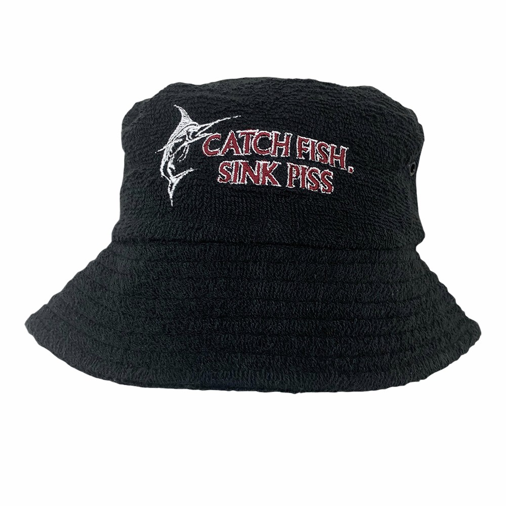 BLACK SINK PISS TERRY TOWELLING BUCKET HAT