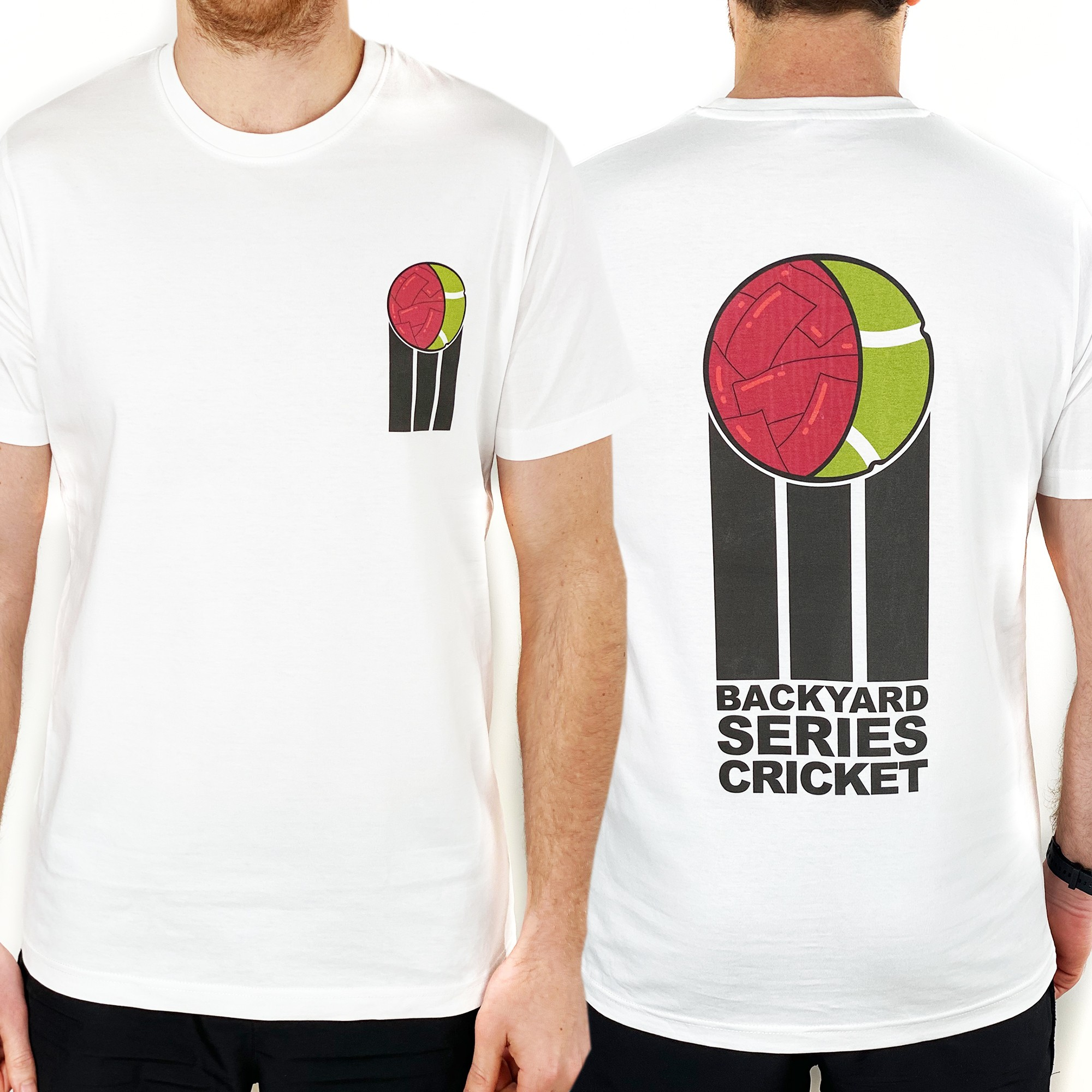 BACKYARD CRICKET FRONT AND BACK WHITE TEE