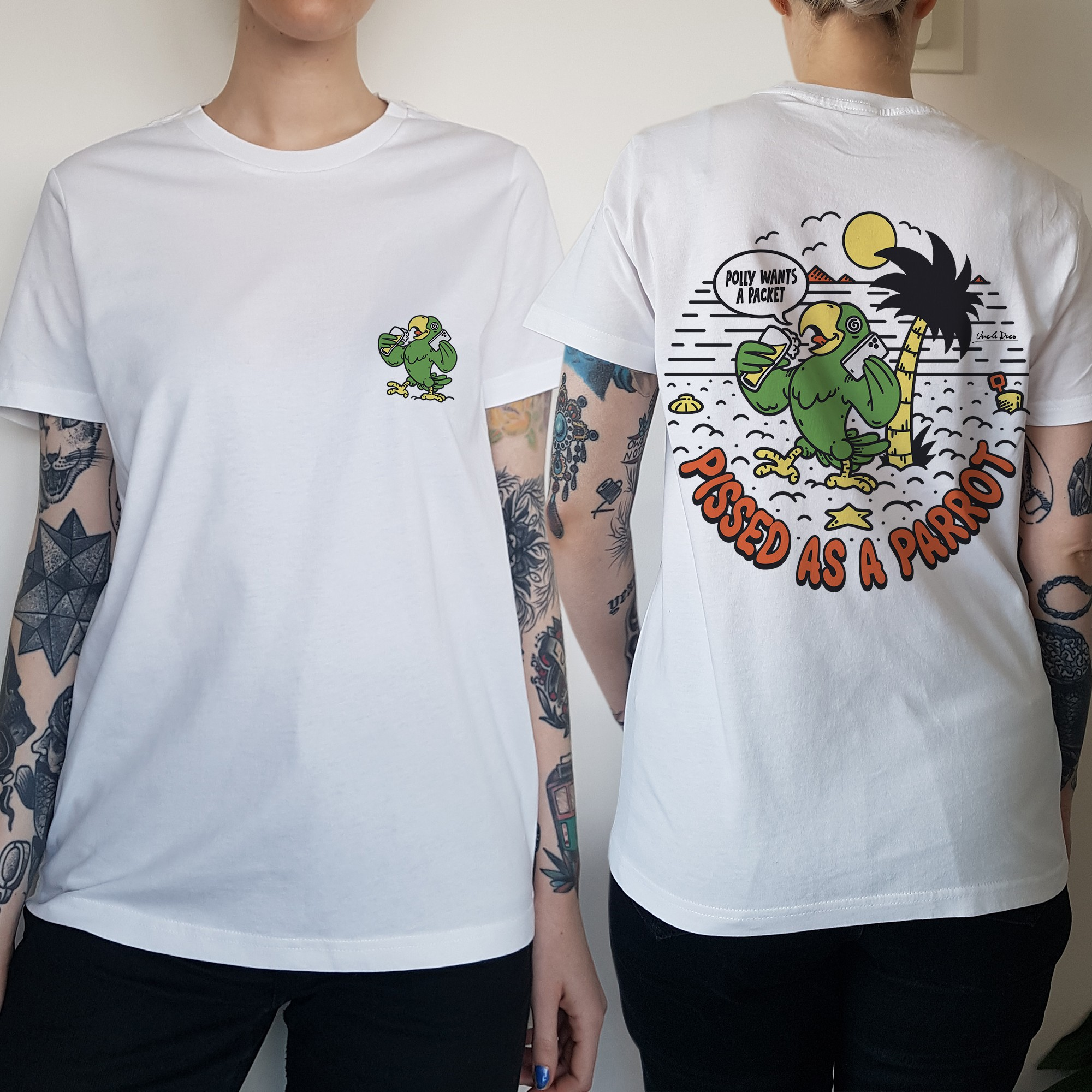 WOMENS POLLY WANTS A PACKET FRONT AND BACK TEE