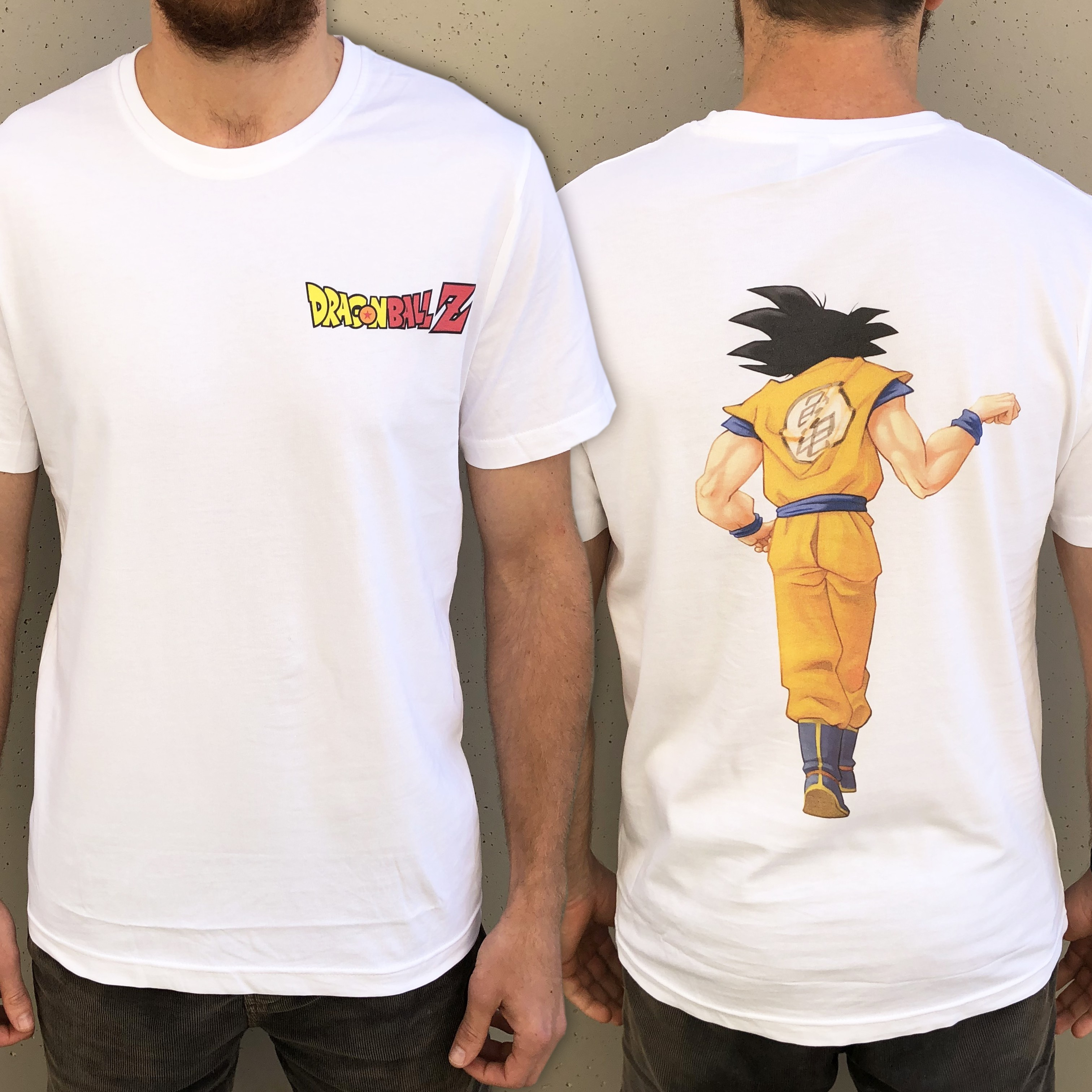 GOKU FIST BUMP FRONT AND BACK FUSION TEE