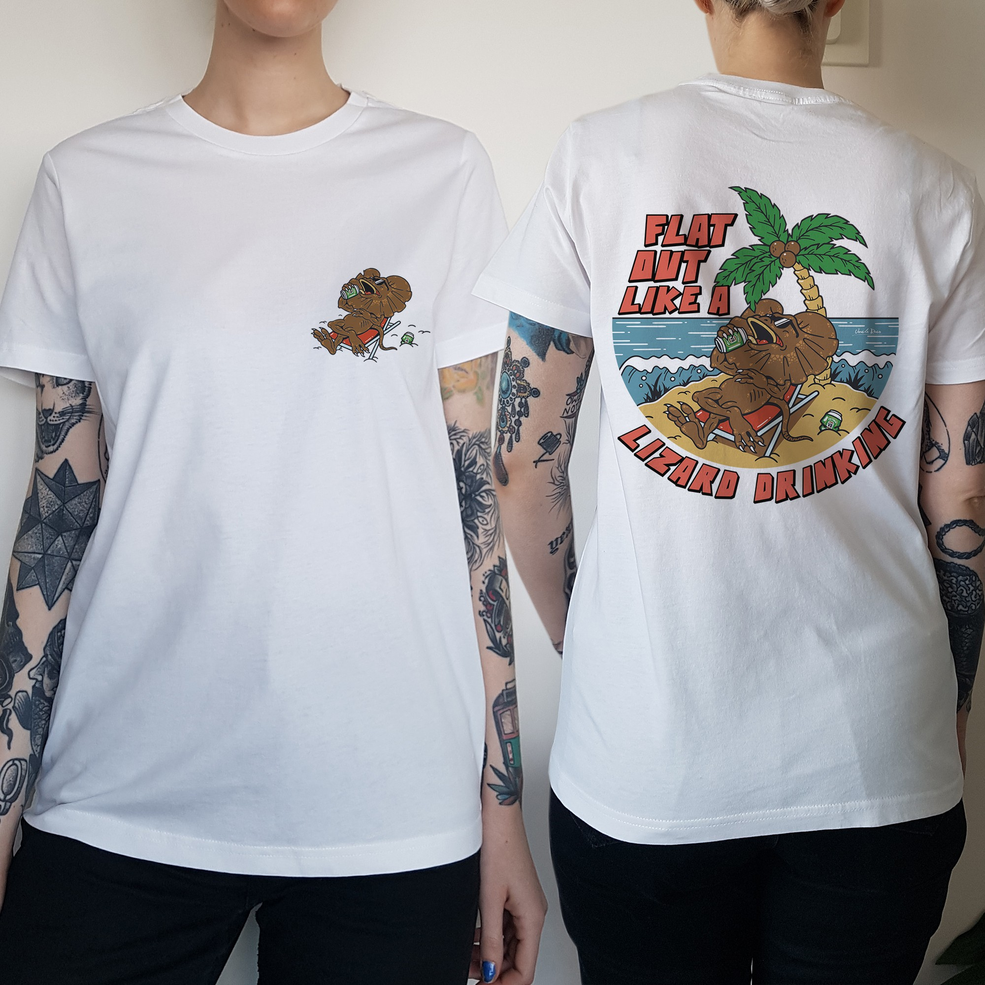 WOMENS FLAT OUT LIKE A LIZARD FRONT AND BACK TEE